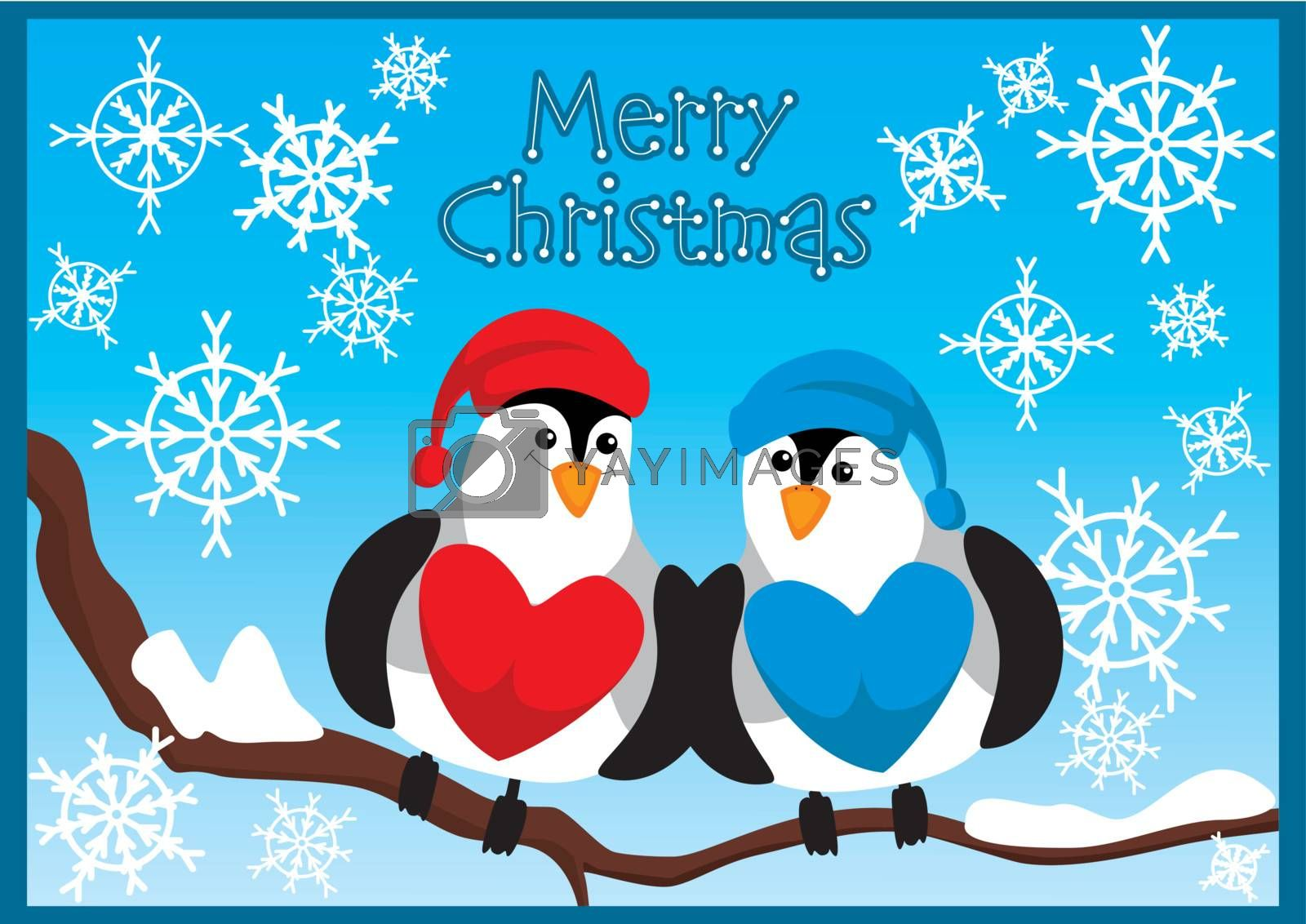 christmas card with birds and snowflakes