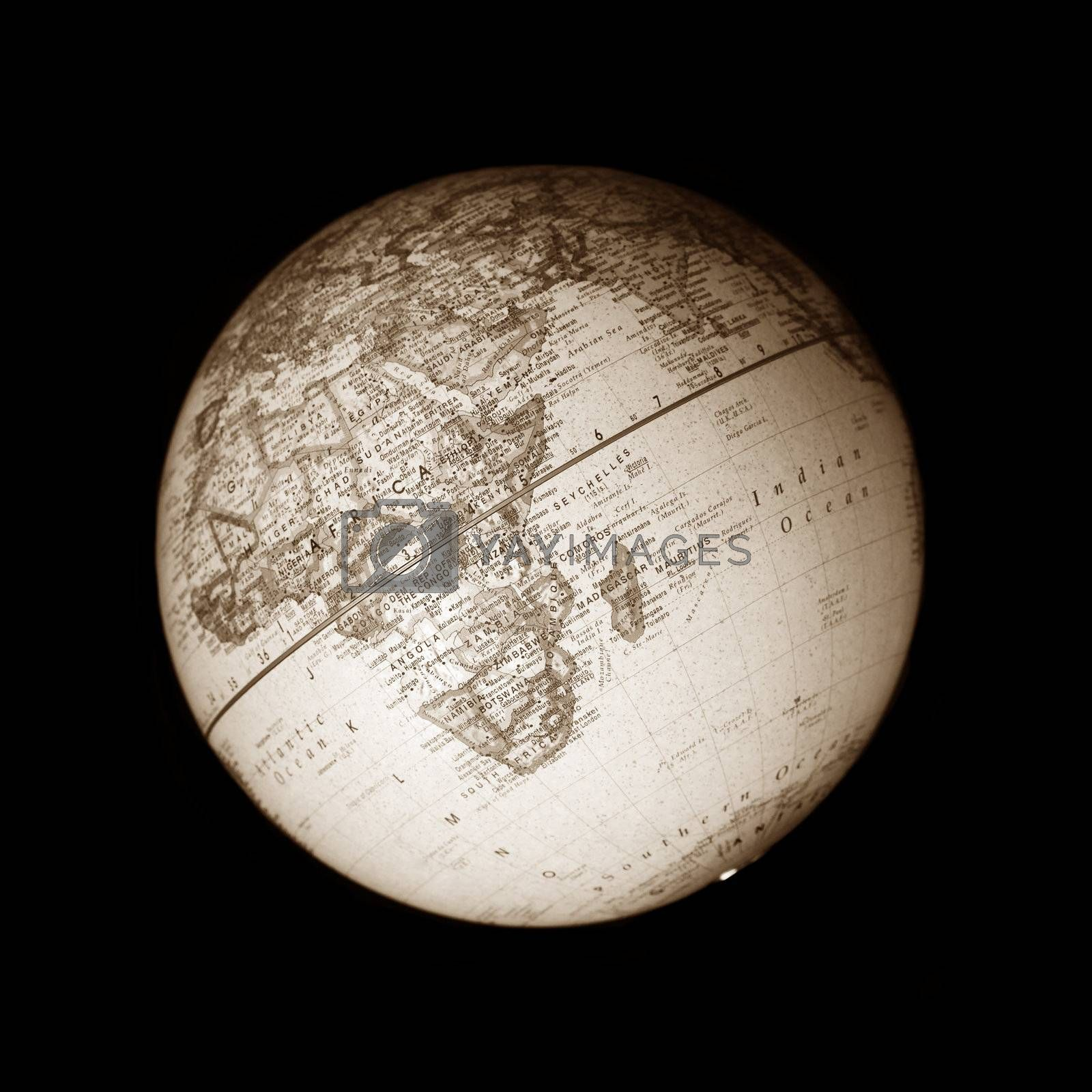 Isolated earth globe on black background