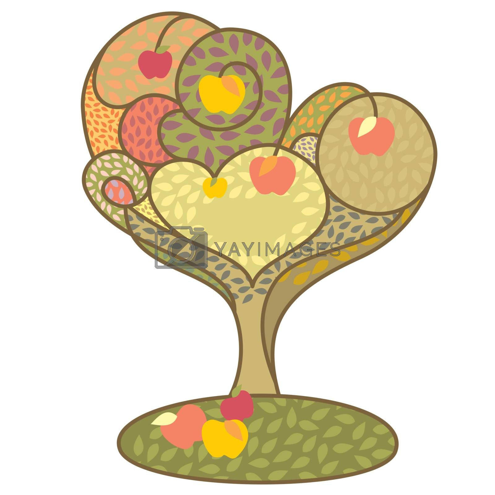 abstract autumn tree with apples vector illustration