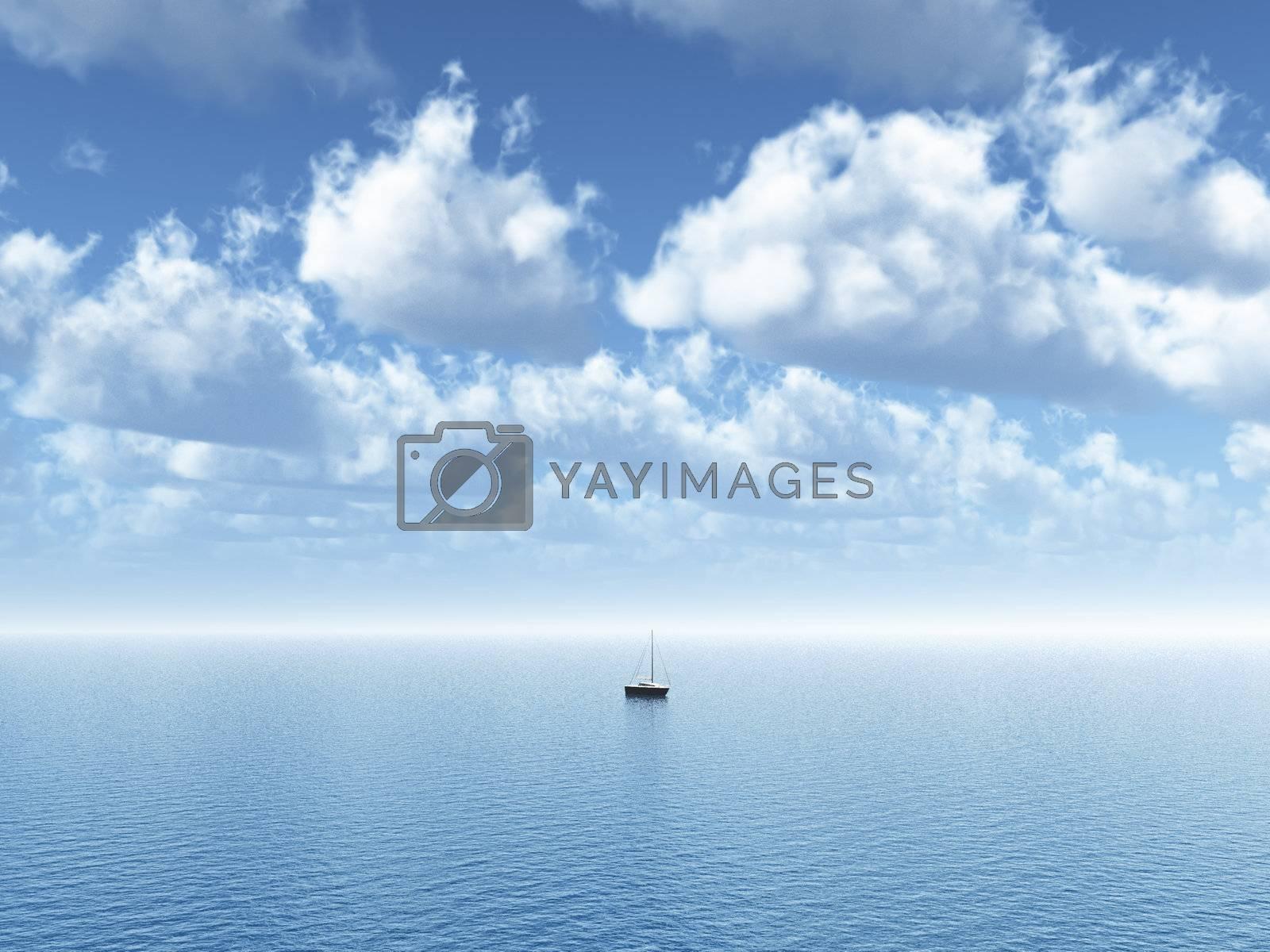 sailing boat at the ocean - 3d illustration