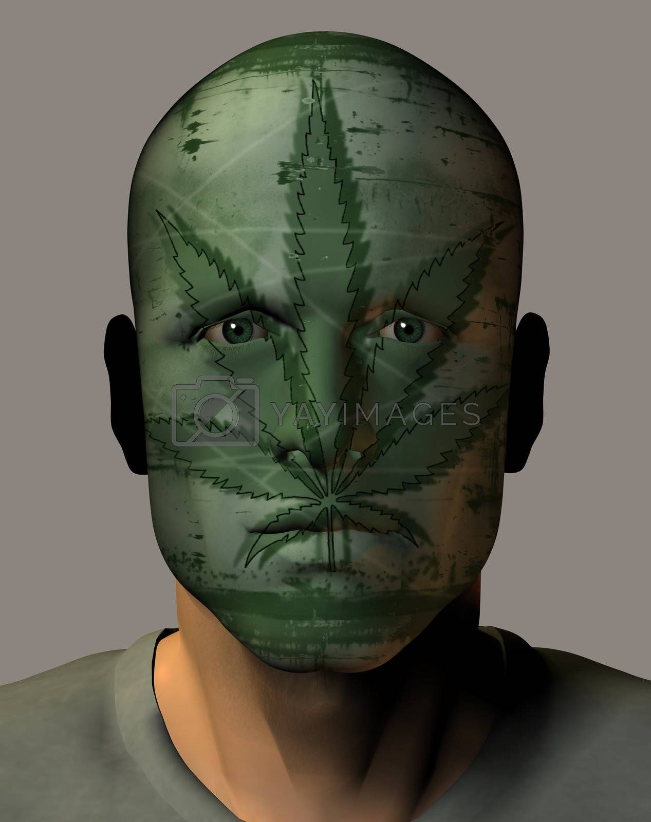 man face with grungy hanf texture - 3d illustration