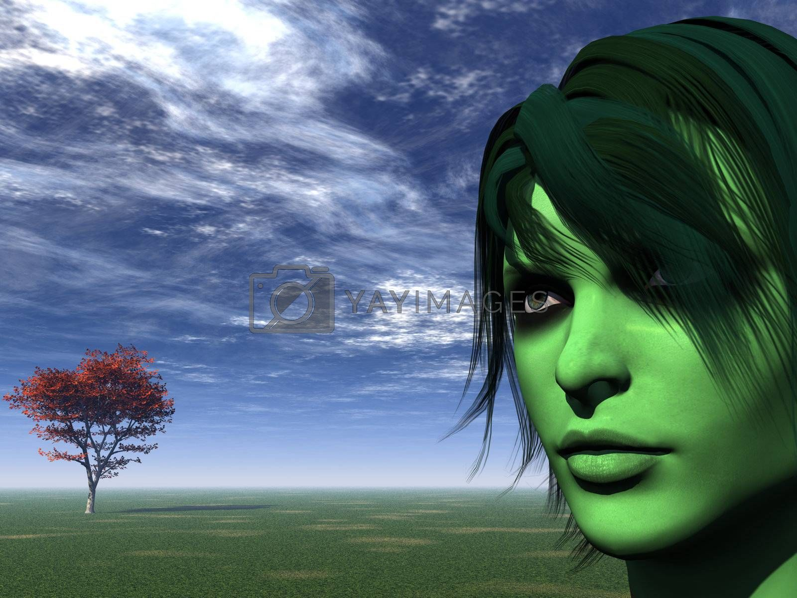portrait of woman with green face and tree - 3d illustration