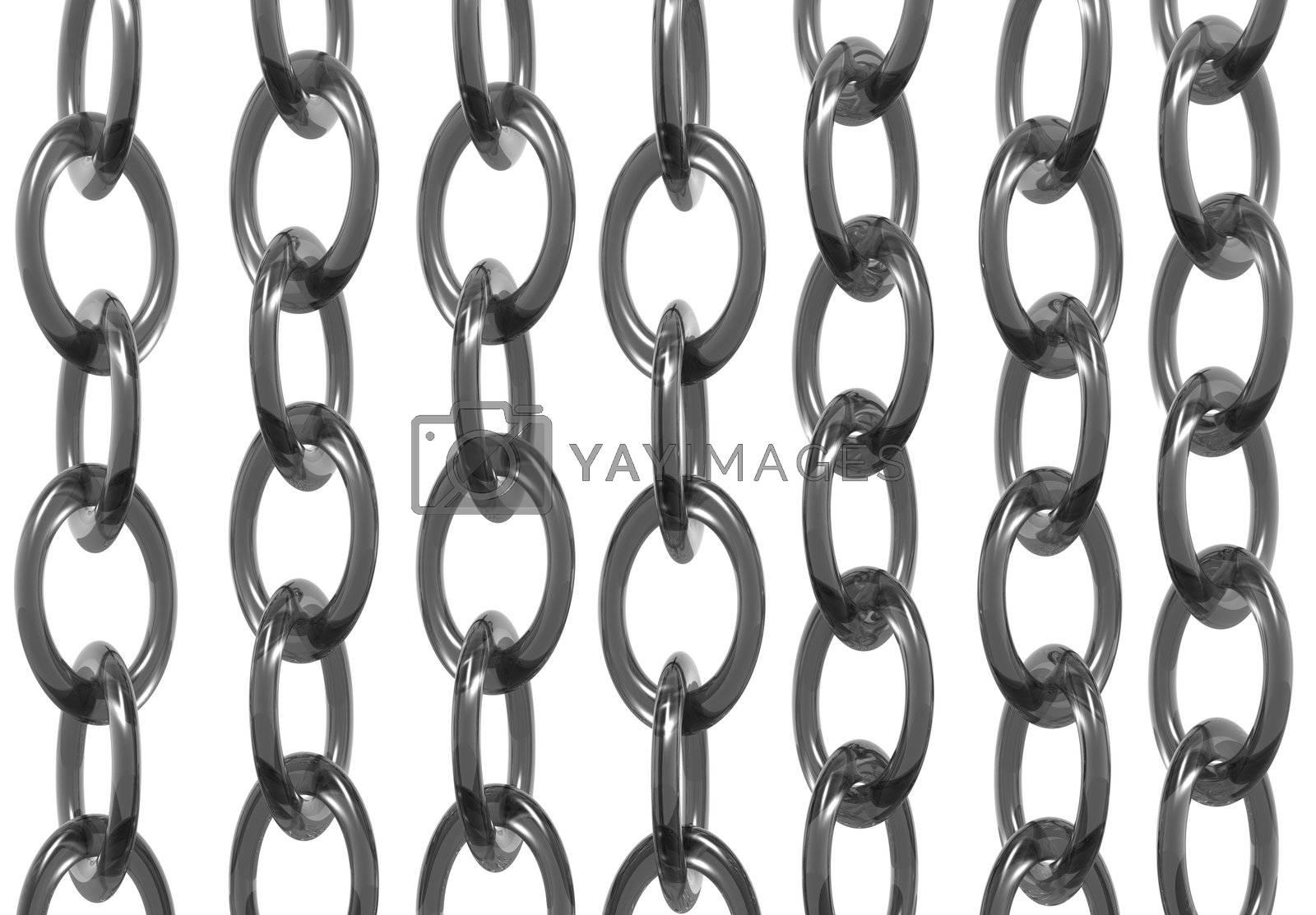 chains on white background - 3d illustration