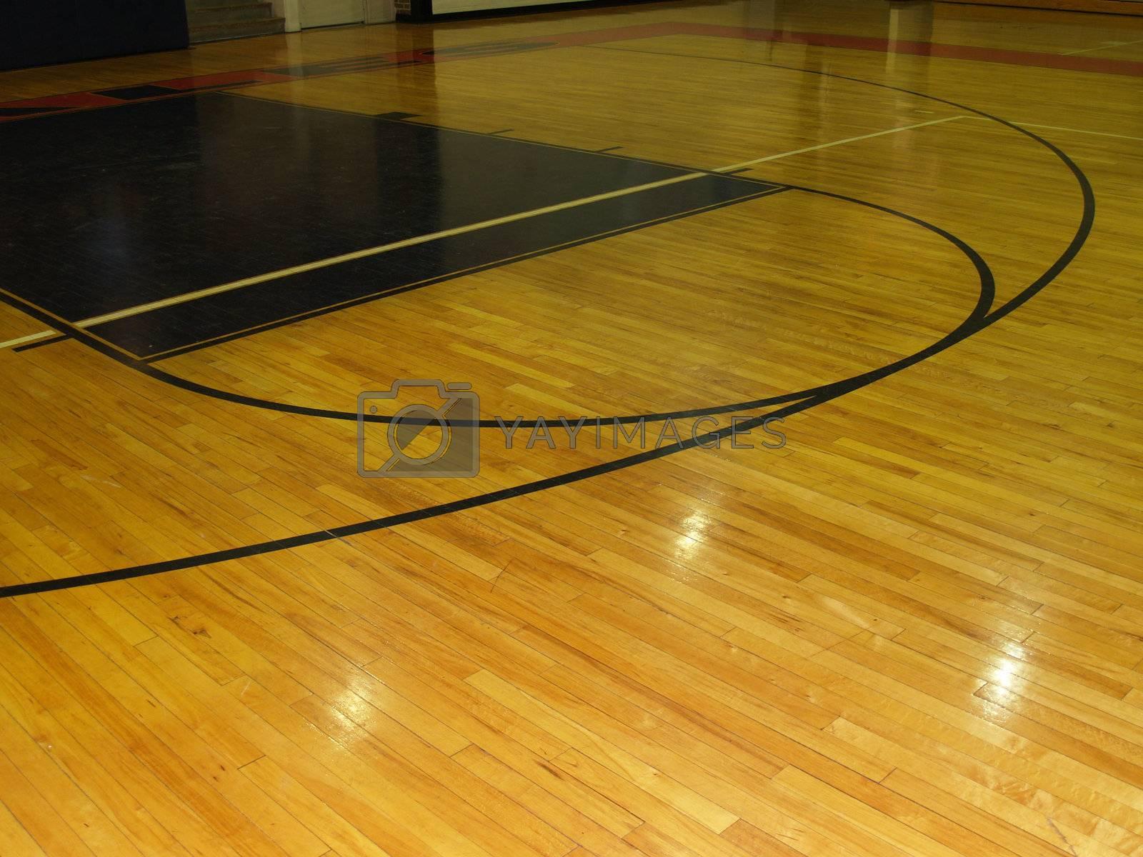 an indoor wood basketball floor