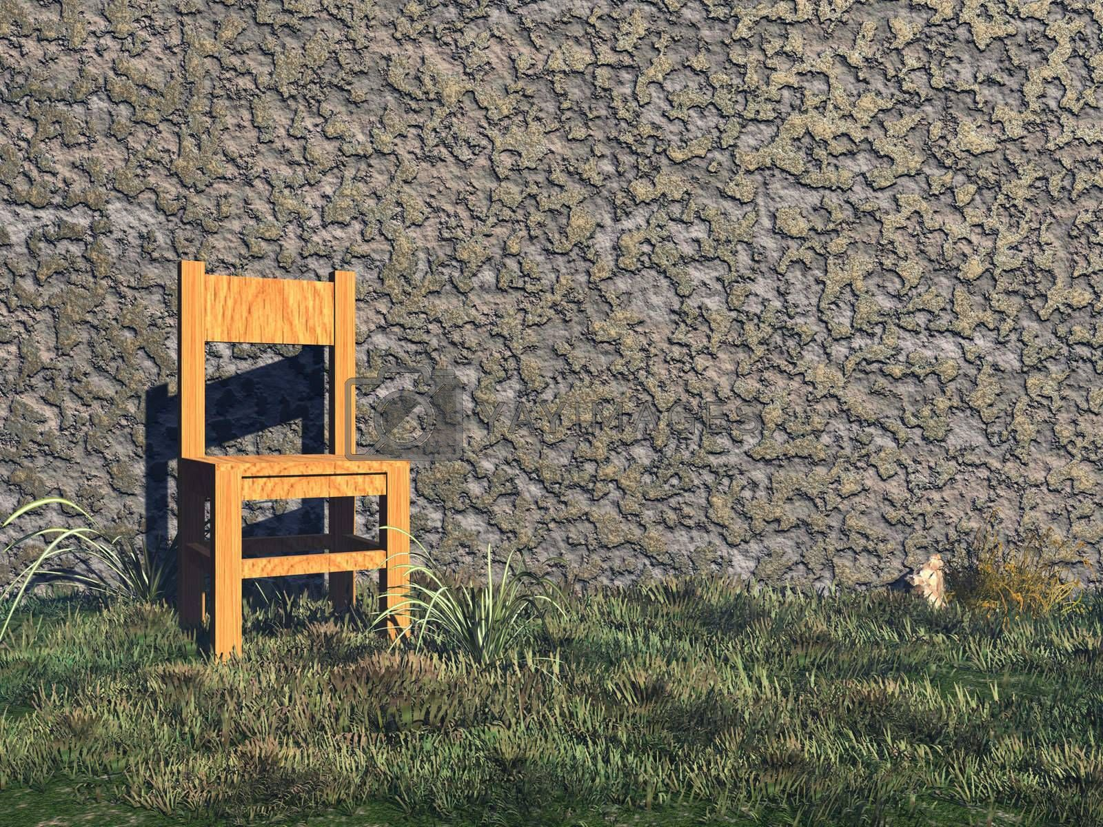 a chair stands before a wall - 3d illustration