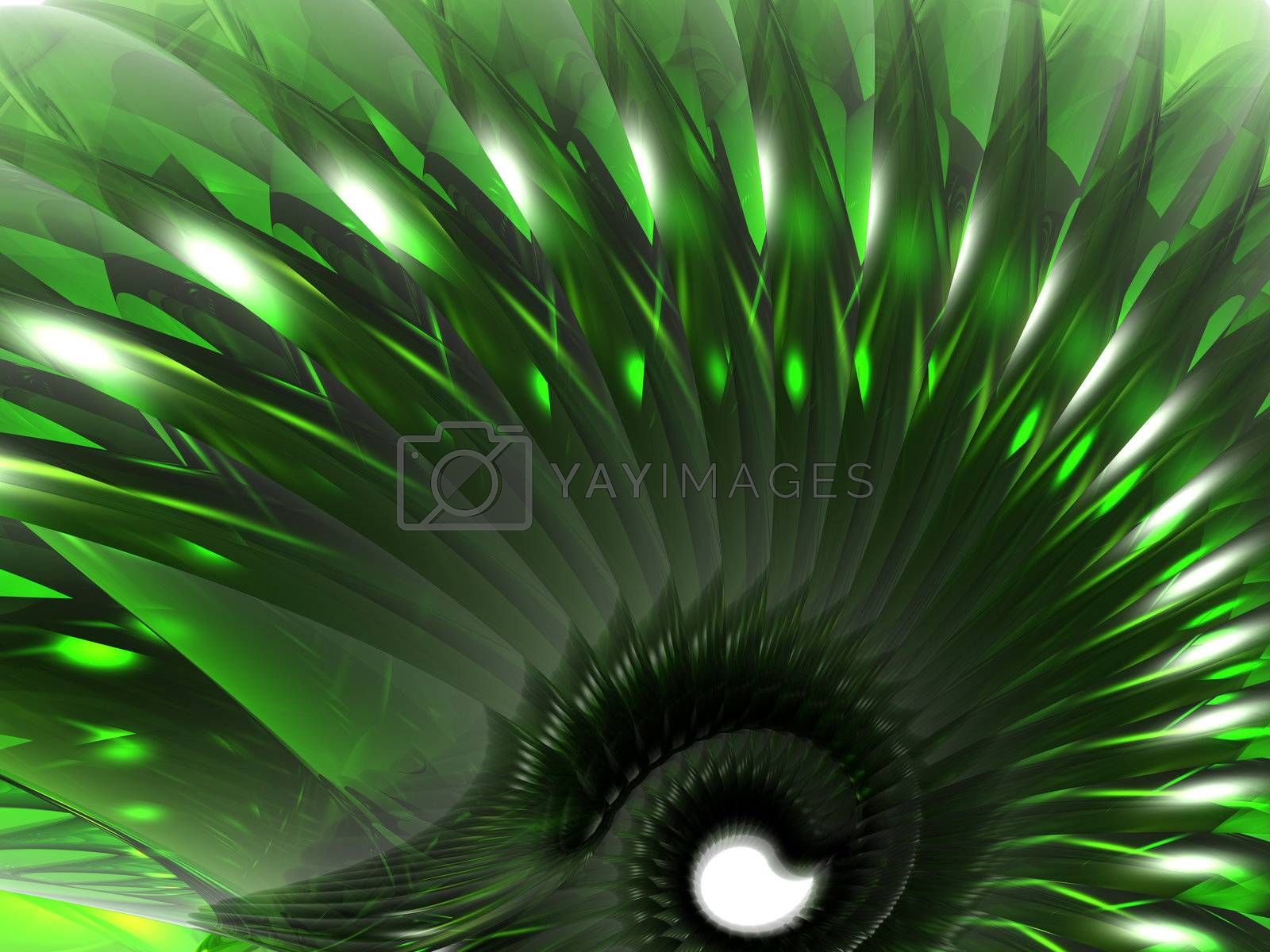 abstract green swirl thing - 3d illustration