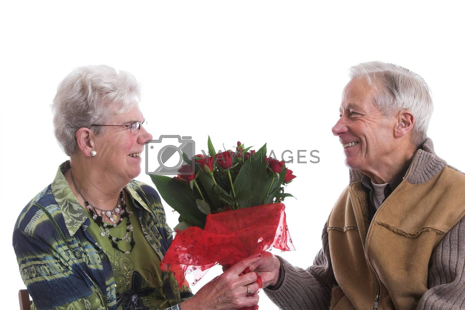 Happy senior couple celebrating valentines day together