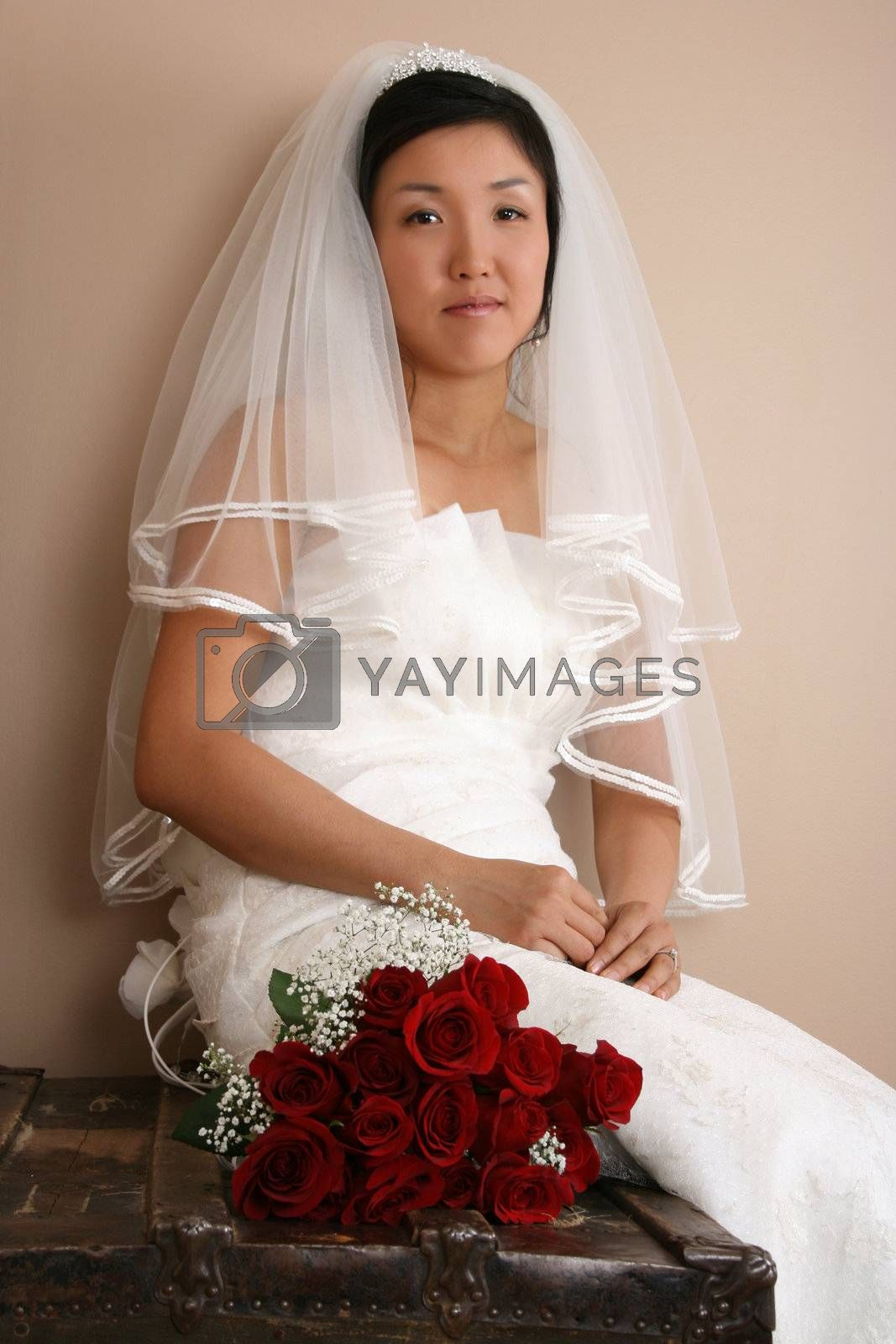 Beautiful bride wearing a traditional gown with red roses