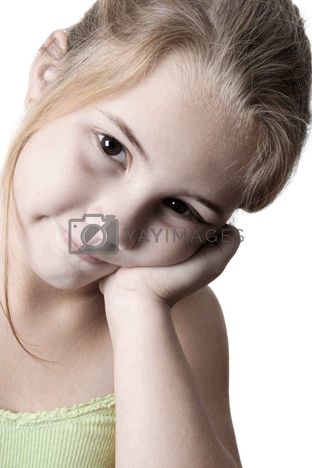 Young girl thinking about something