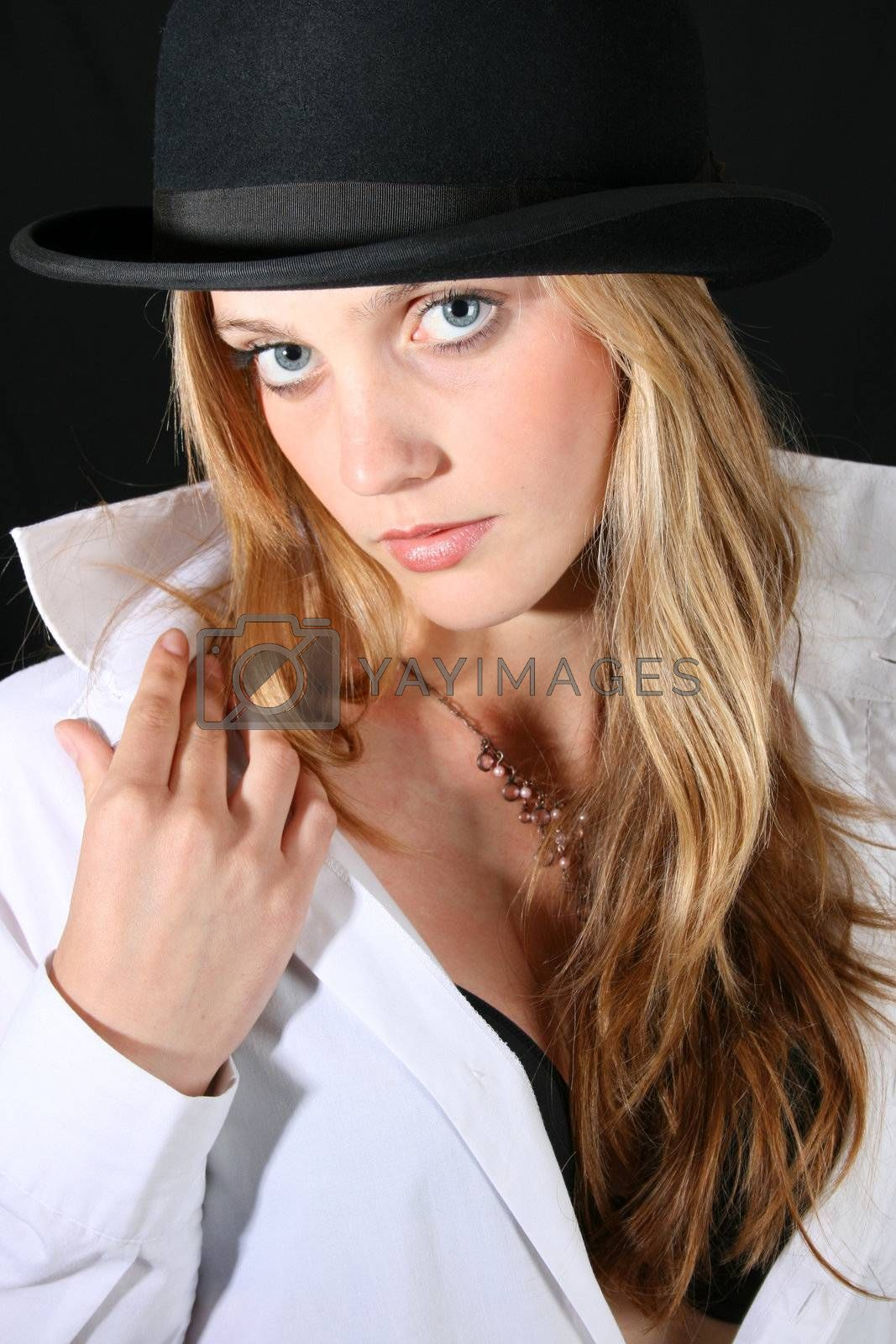 Beautiful young female model with blue eyes