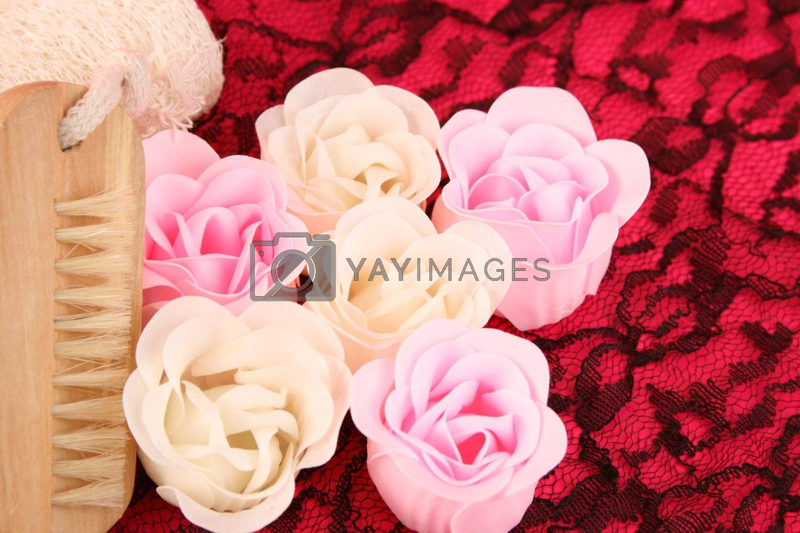 Pink and white flowers made out of Soap