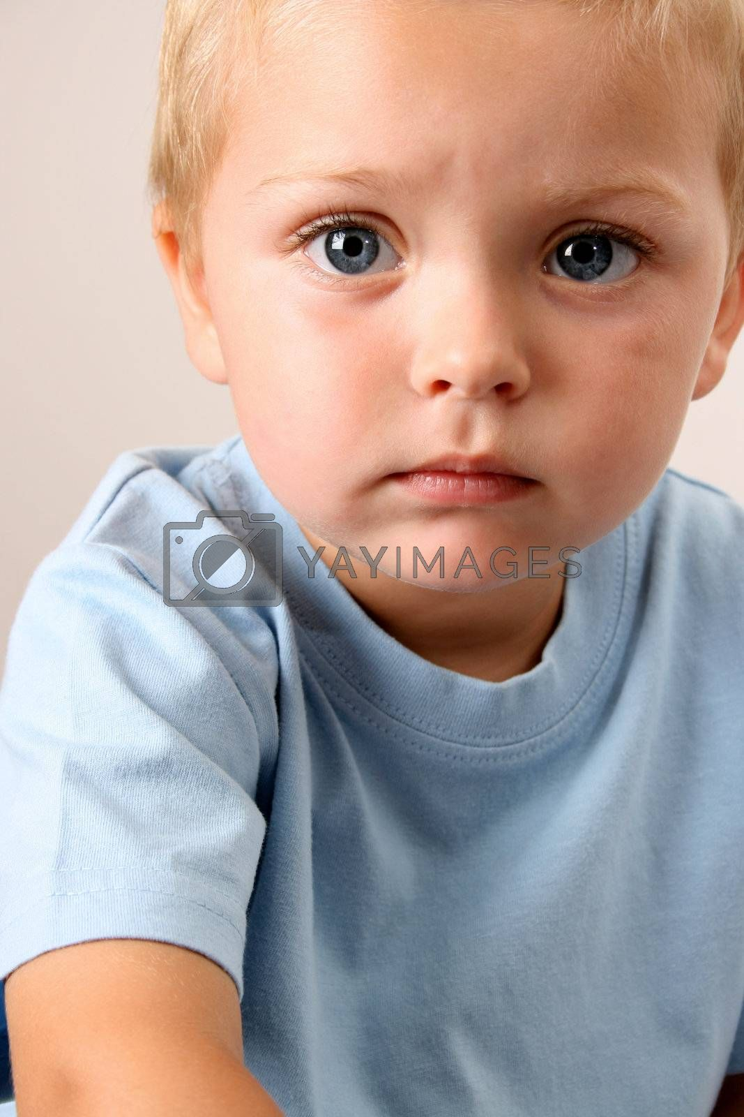 Beuatiful Blond toddler with big blue eyes