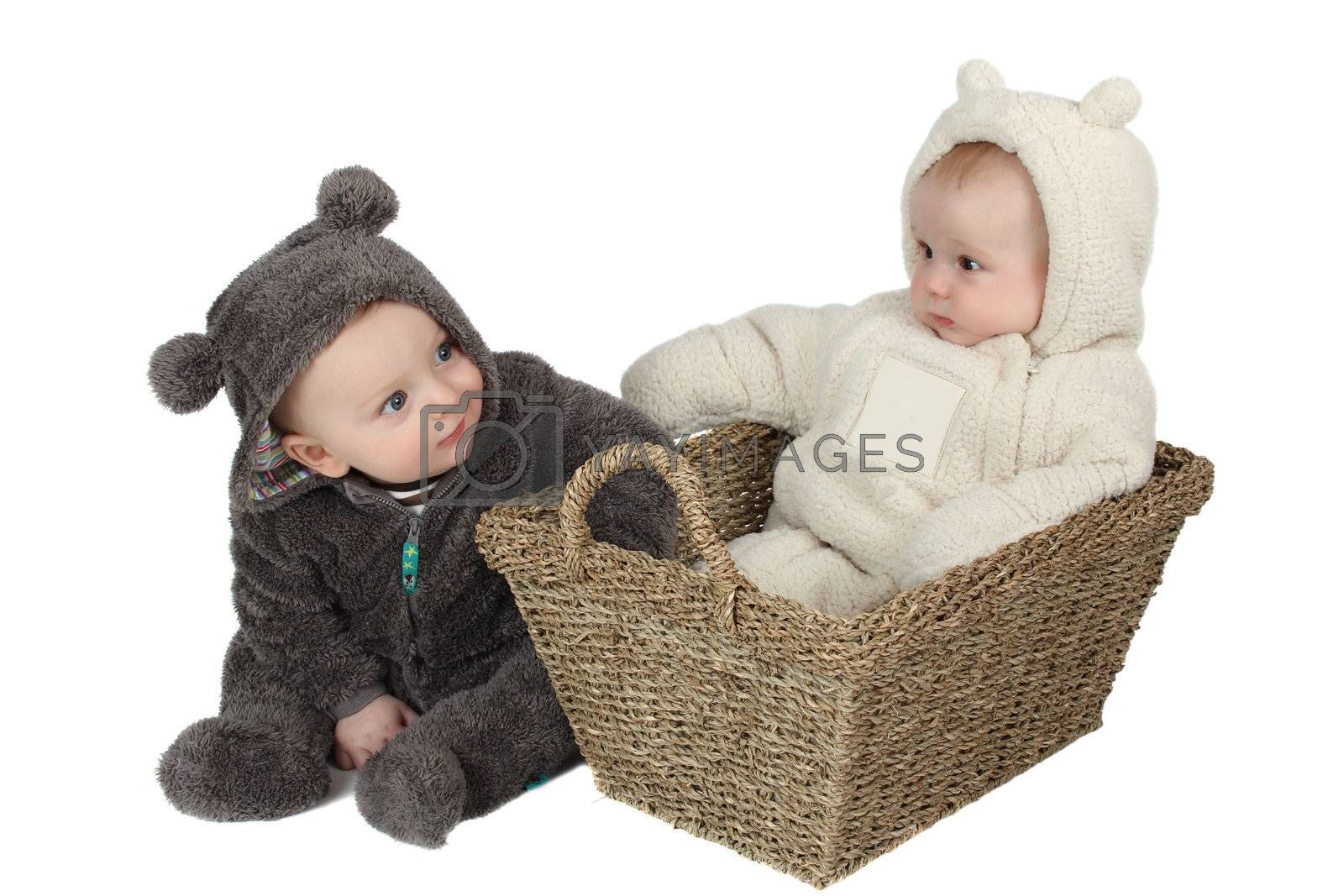 Two babies dressed in furry teddy bear suits