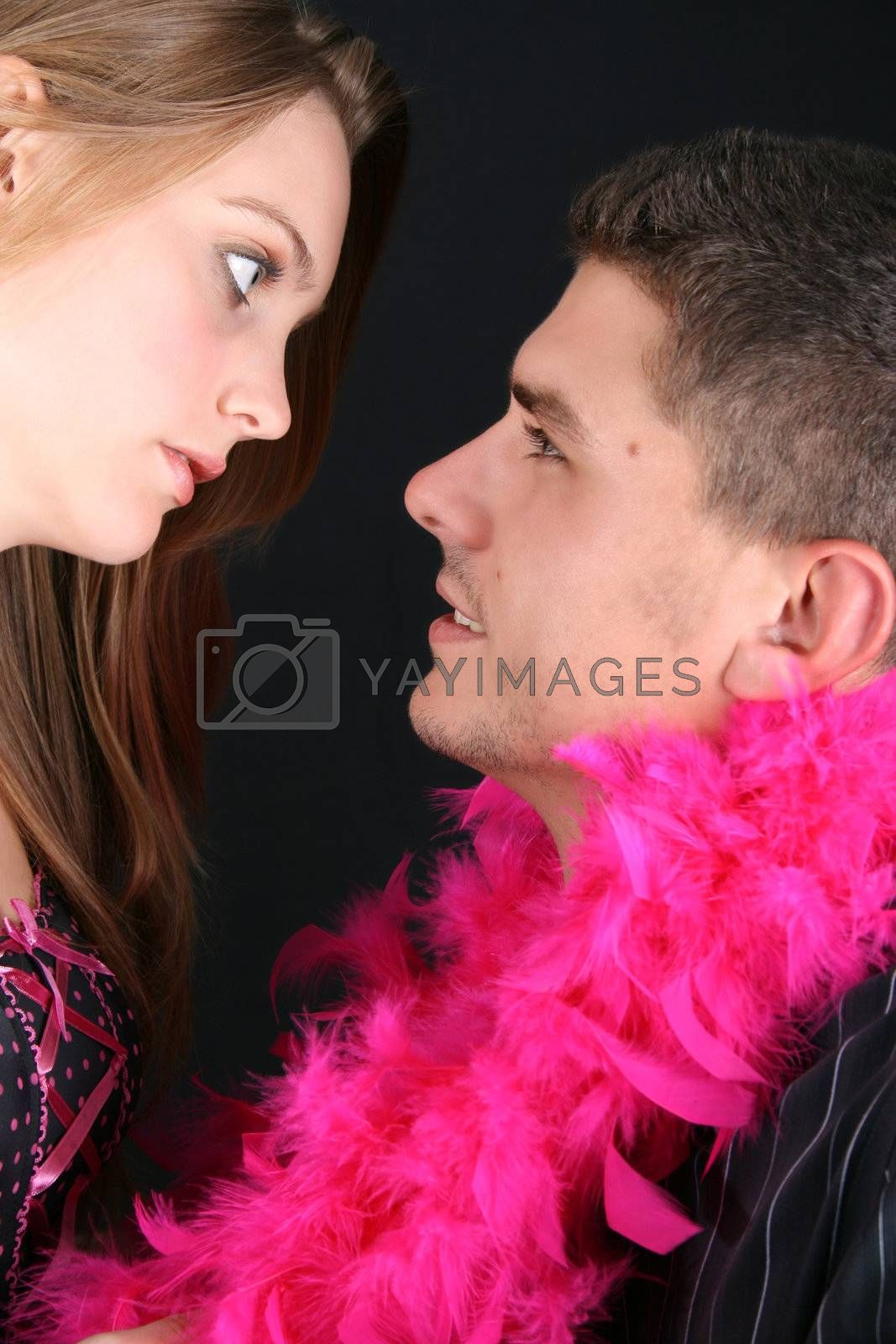 Young couple in love, faces close to one another