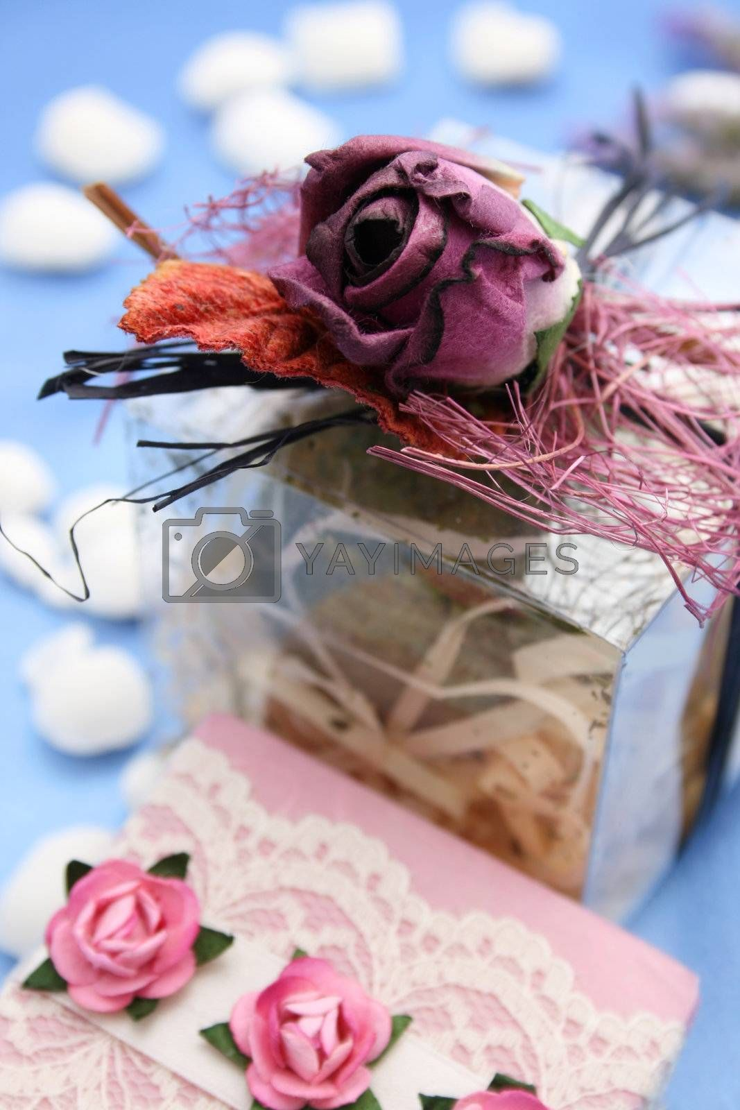 Wrapped soap gift and decorated pvc box with fizz ball inside