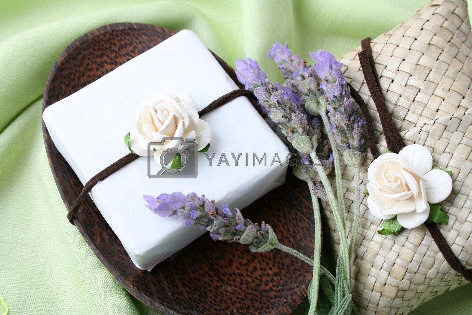 Soap Dish with gift soap and decorated sachet