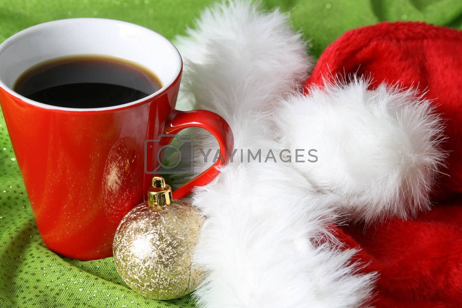 Christmas morning coffee with a hat and decoration
