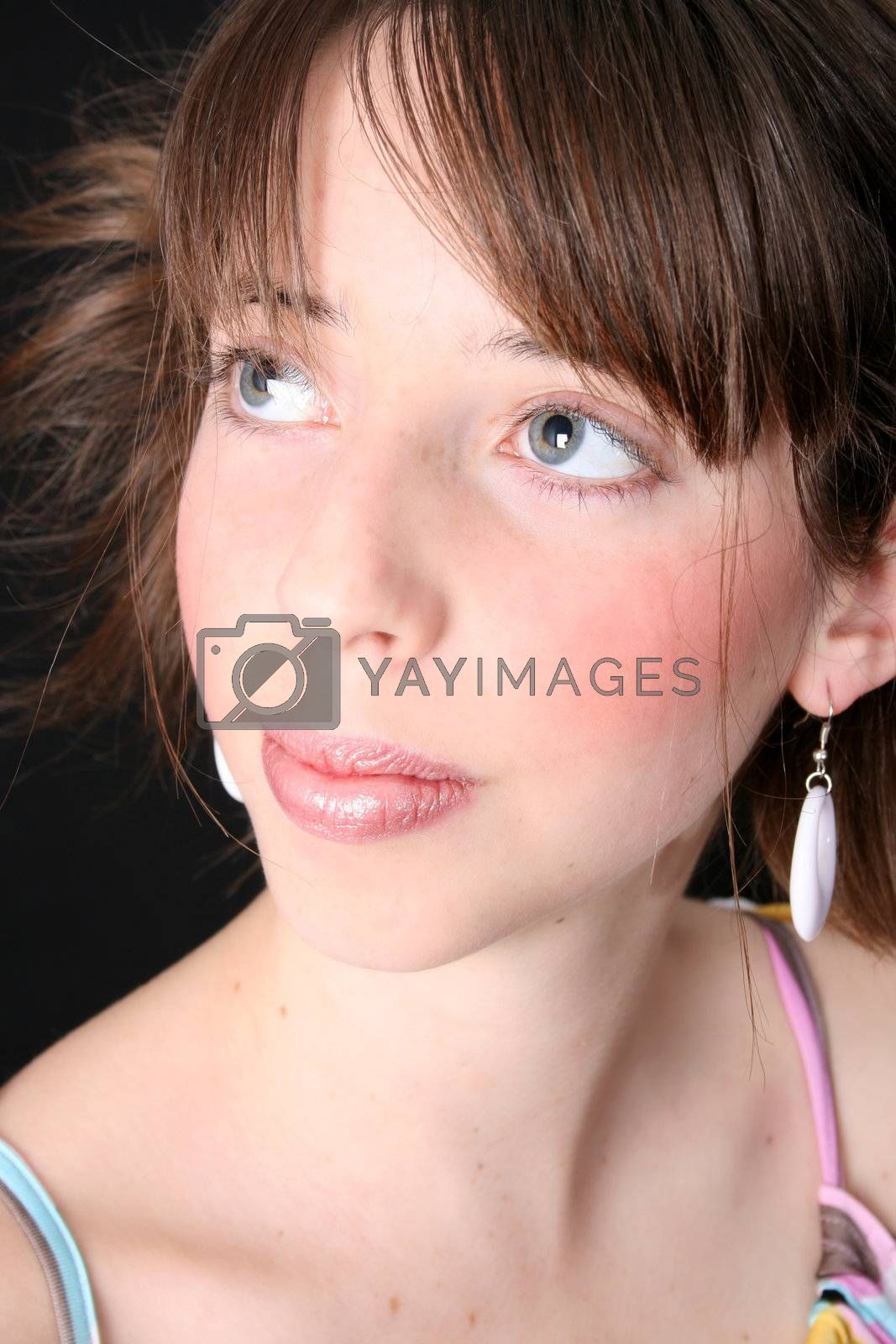 Close up of a teen model with beautiful blue eyes