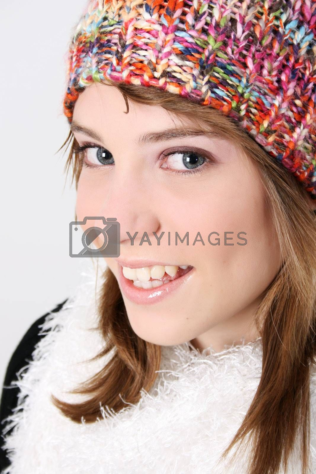 Beautiful young teenager wearing warm winter clothing