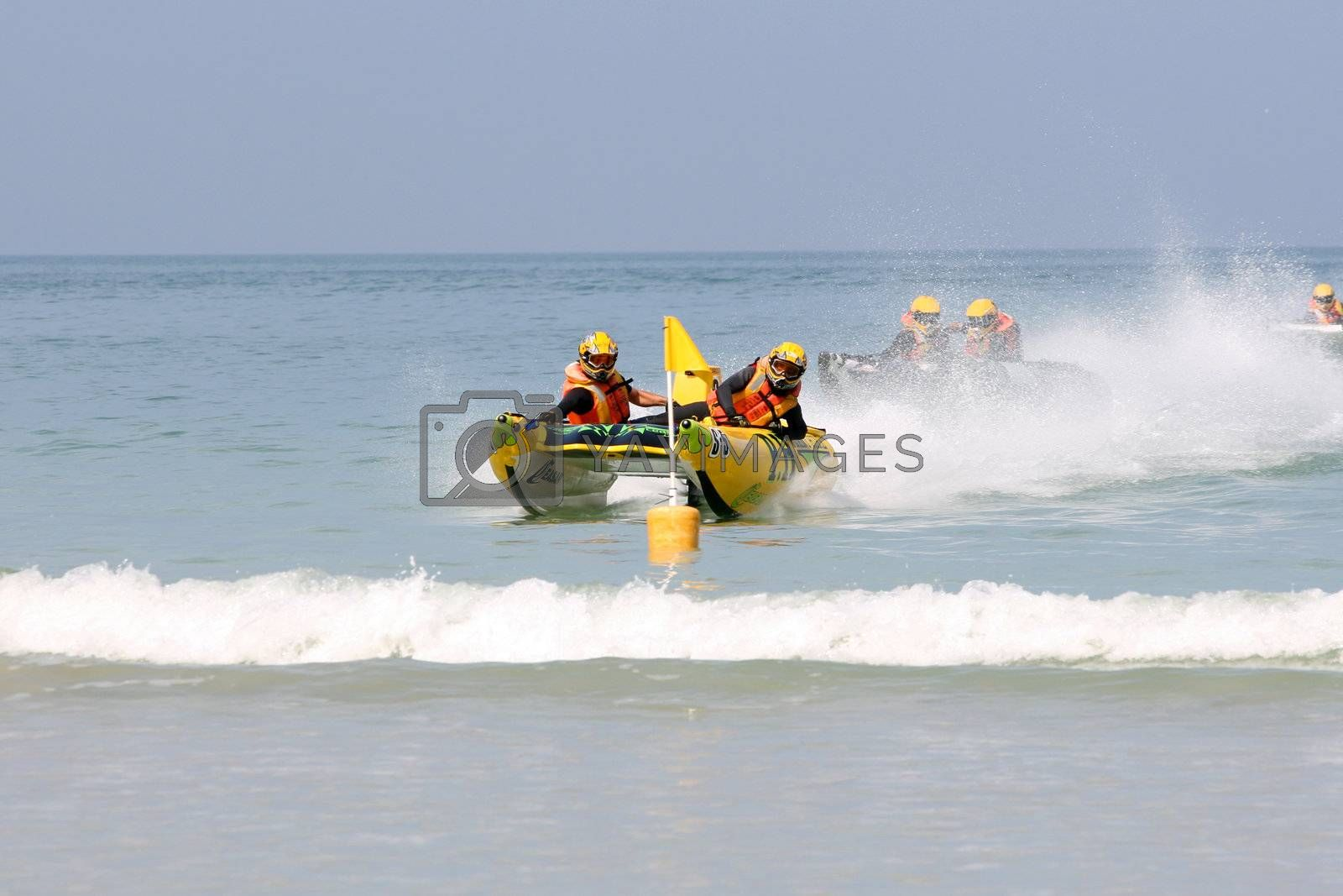 STRAND, RSA - OCTOBER 24: Western Cape regional heat for the inflatable boat race series on October 24, 2009 at Strand in the Western Cape Province, South Africa.
