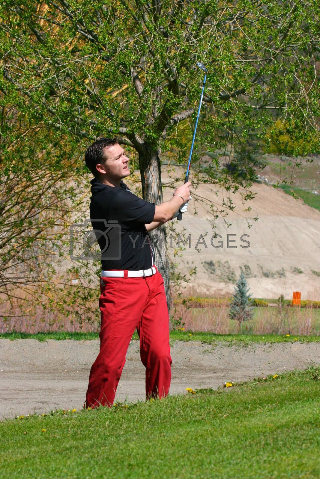 Young male golfer playing a shot from the bunker