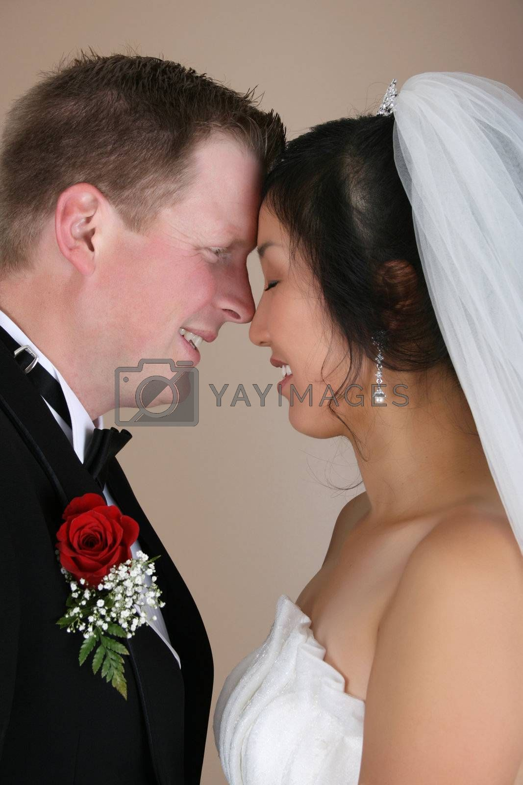 Bridal couple with faces close together