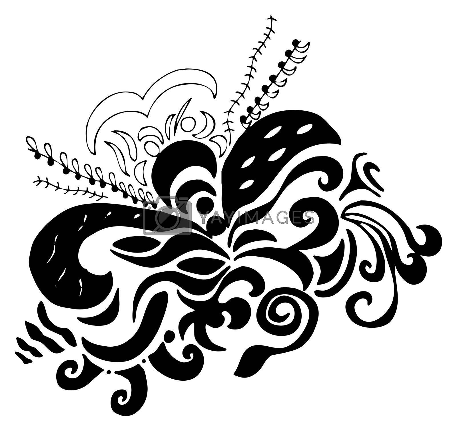 digital illustration of swirls and scrolls � black on white