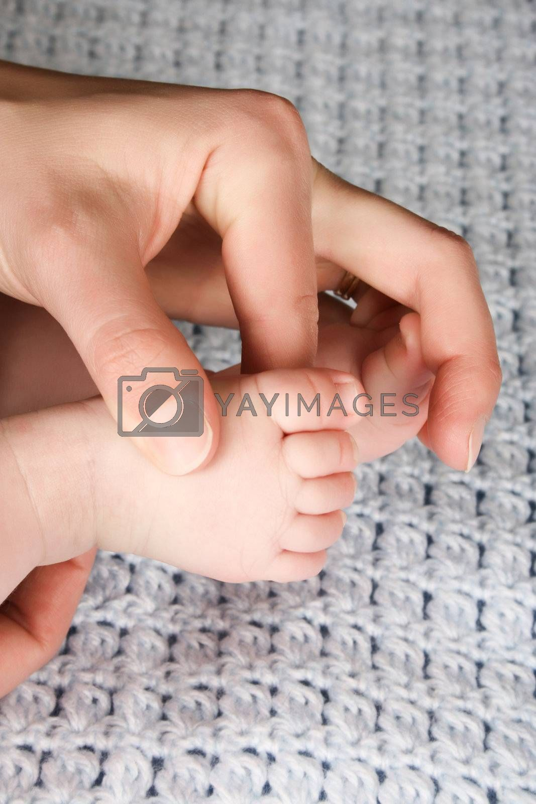 Hands and feet of caucasian mother and baby