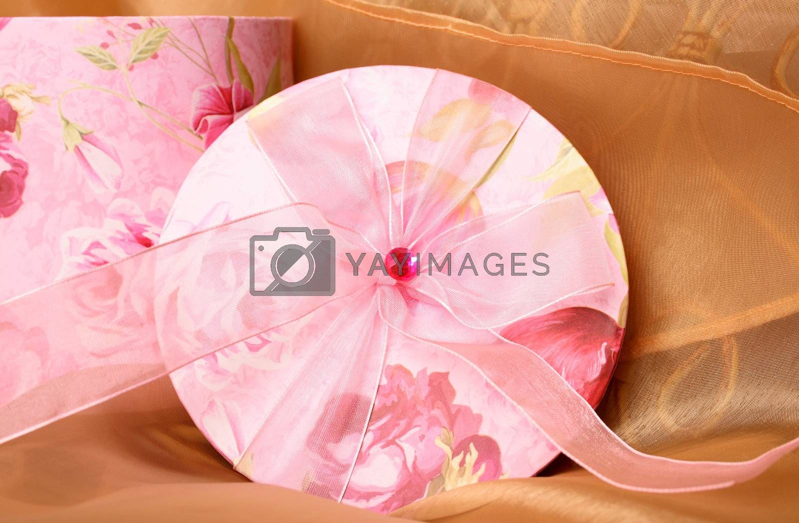 Pink Floral Gift box and lid with ribbon and gem stone