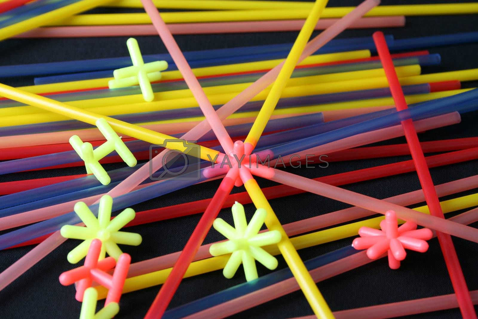 Straws and shapes, educational toys in bright colors