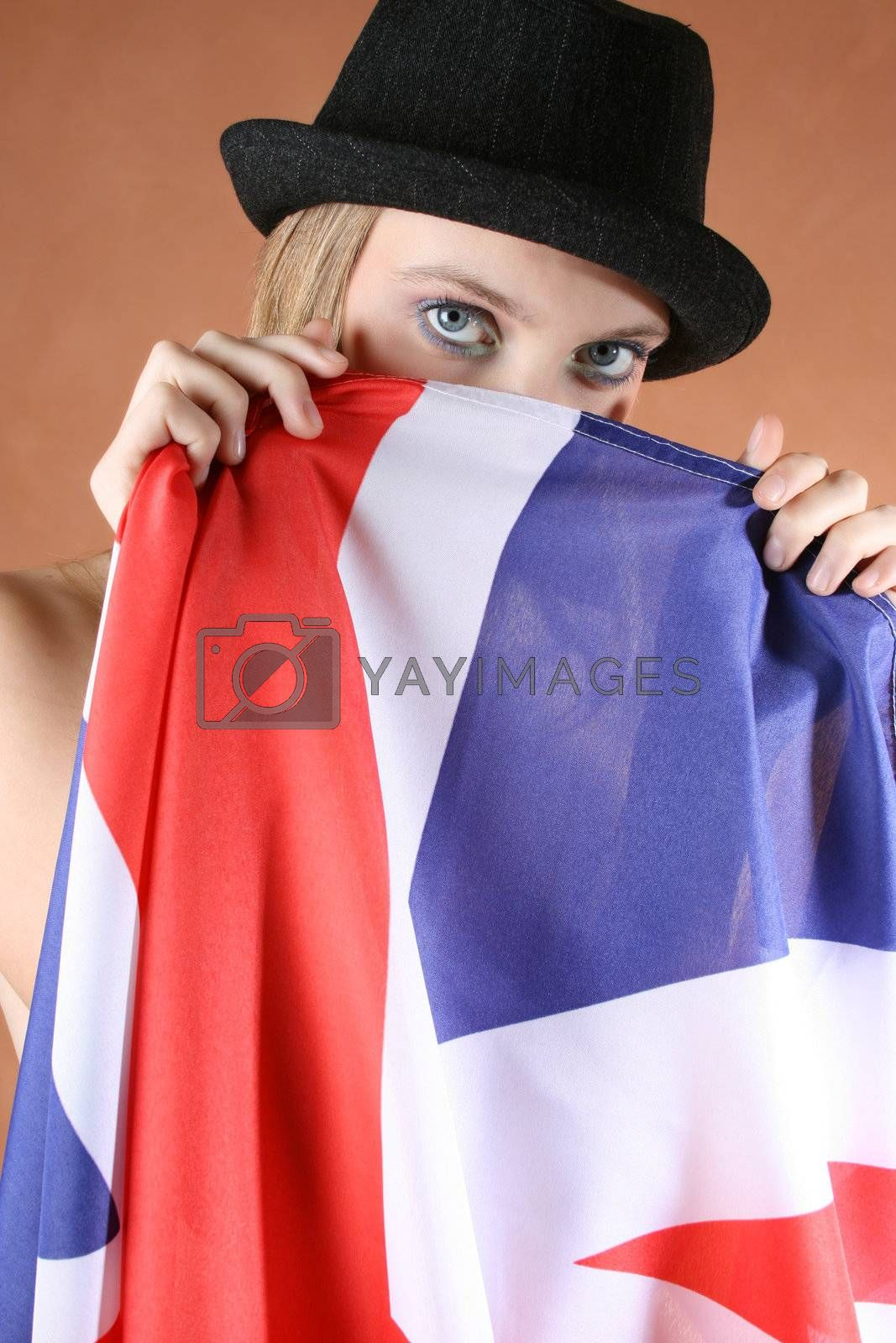 Beautiful young female model with a Union Jack
