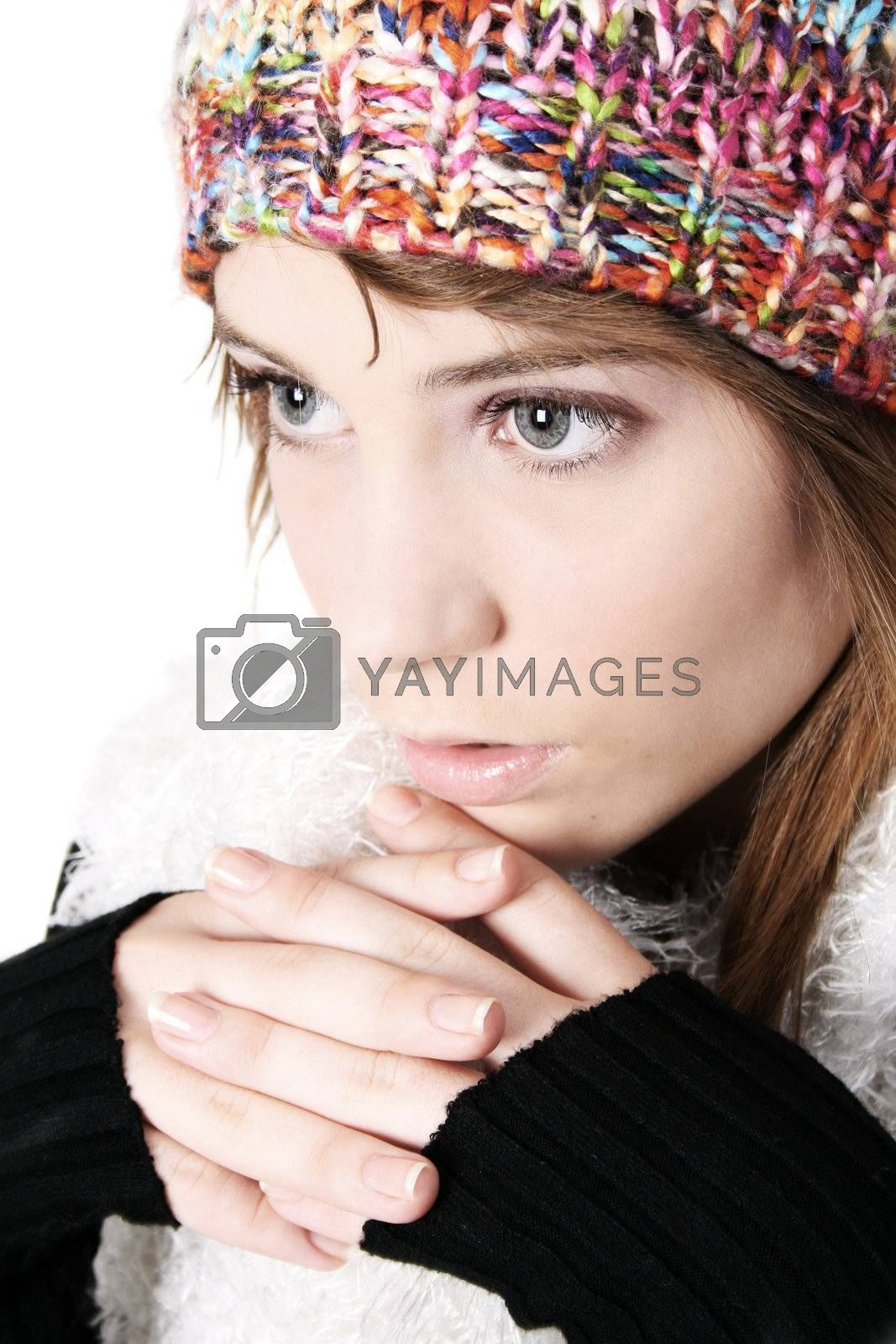 Beautiful young teenager wearing warm winter clothing