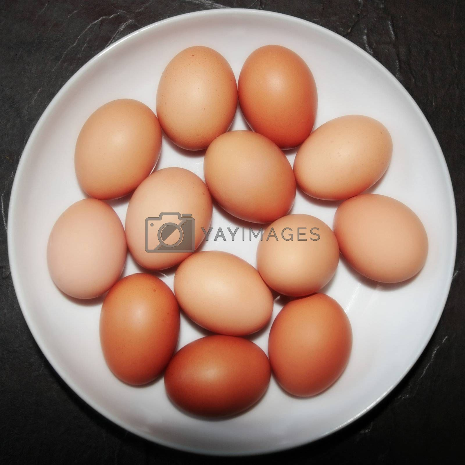 fresh organic farm eggs in a bowl