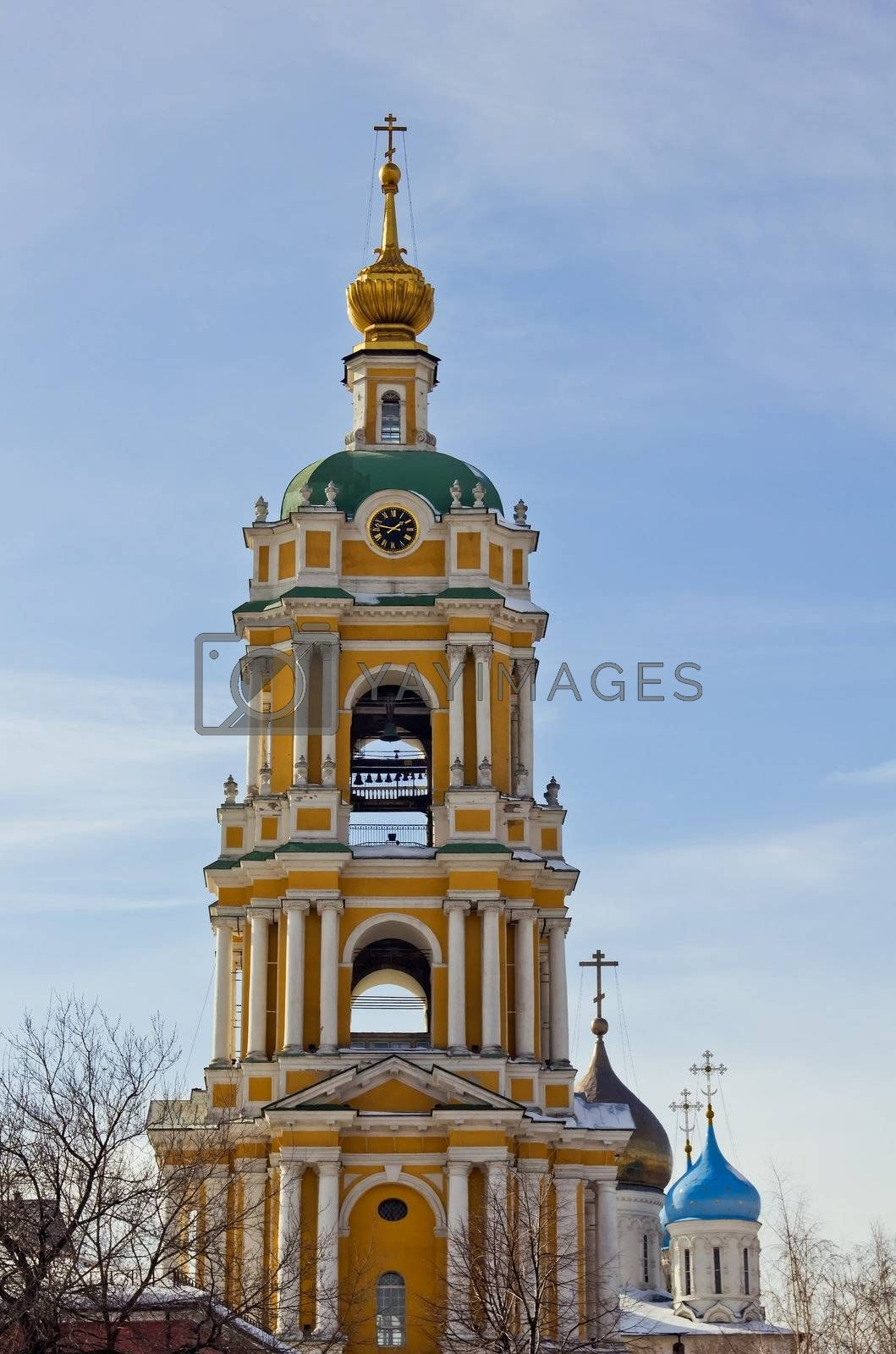 temple and belltower of a monastery in Moscow