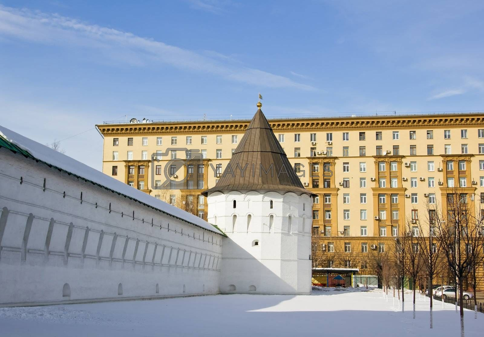 tower and wall of Novospassky monastery in Moscow In the early spring