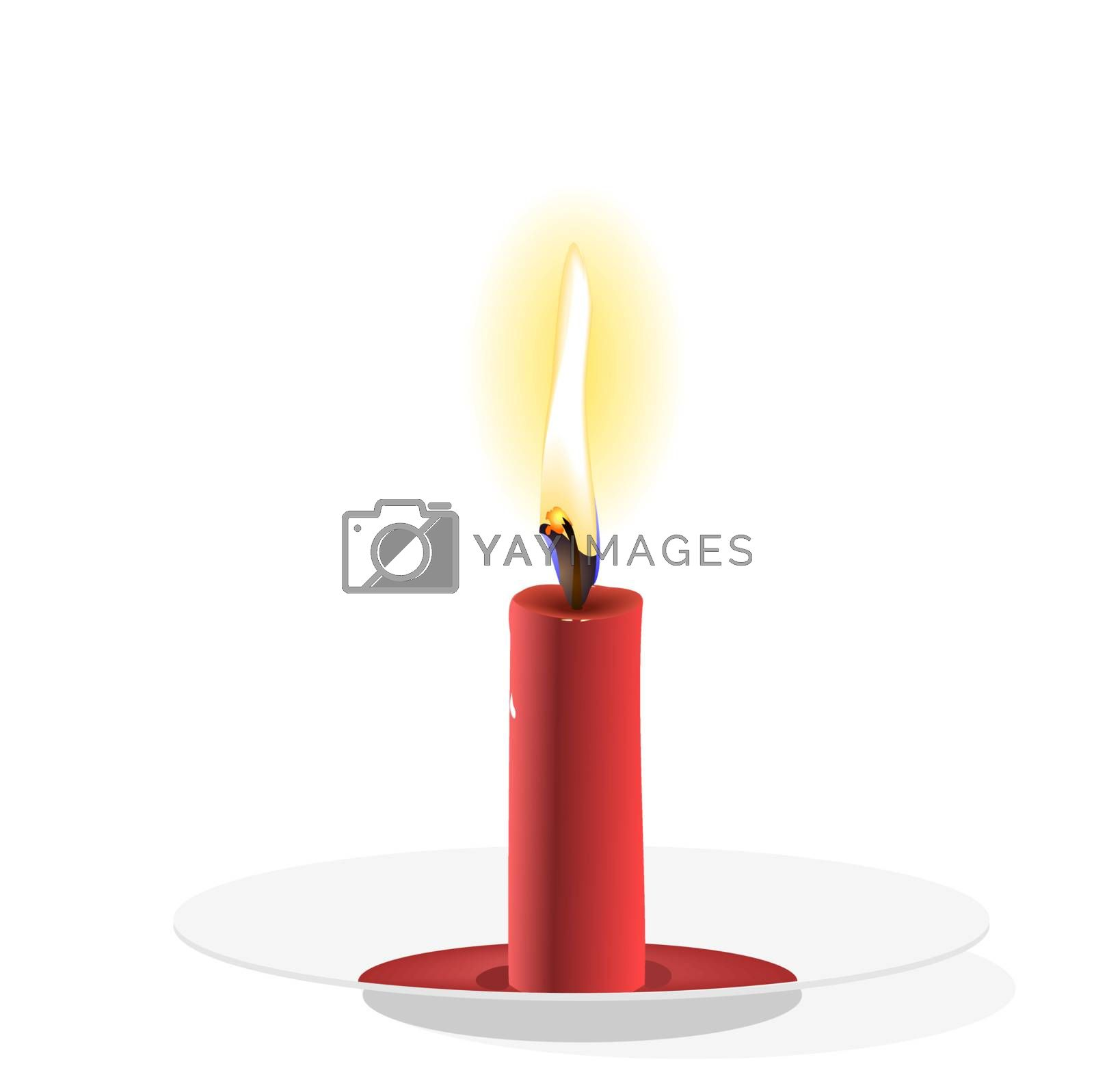Realistic Vector  Candle on plate