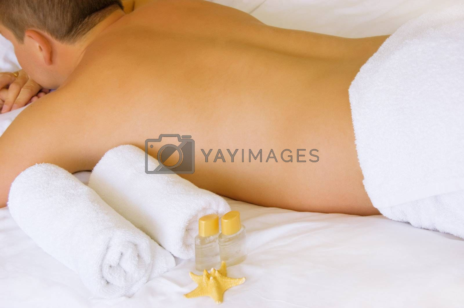 Man lying ready for massage by Angel_a
