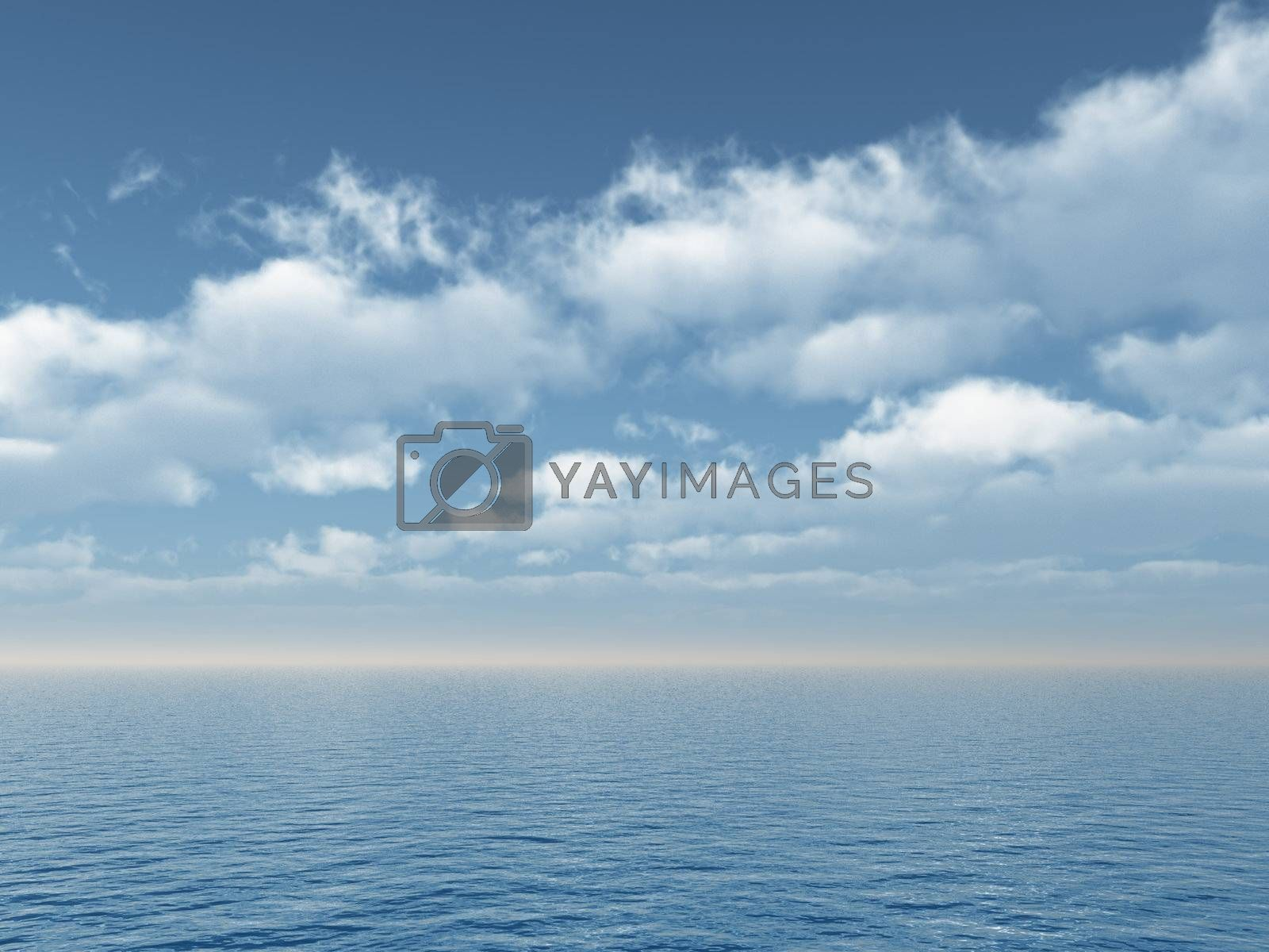 water landscape with cloudy sky - 3d illustration