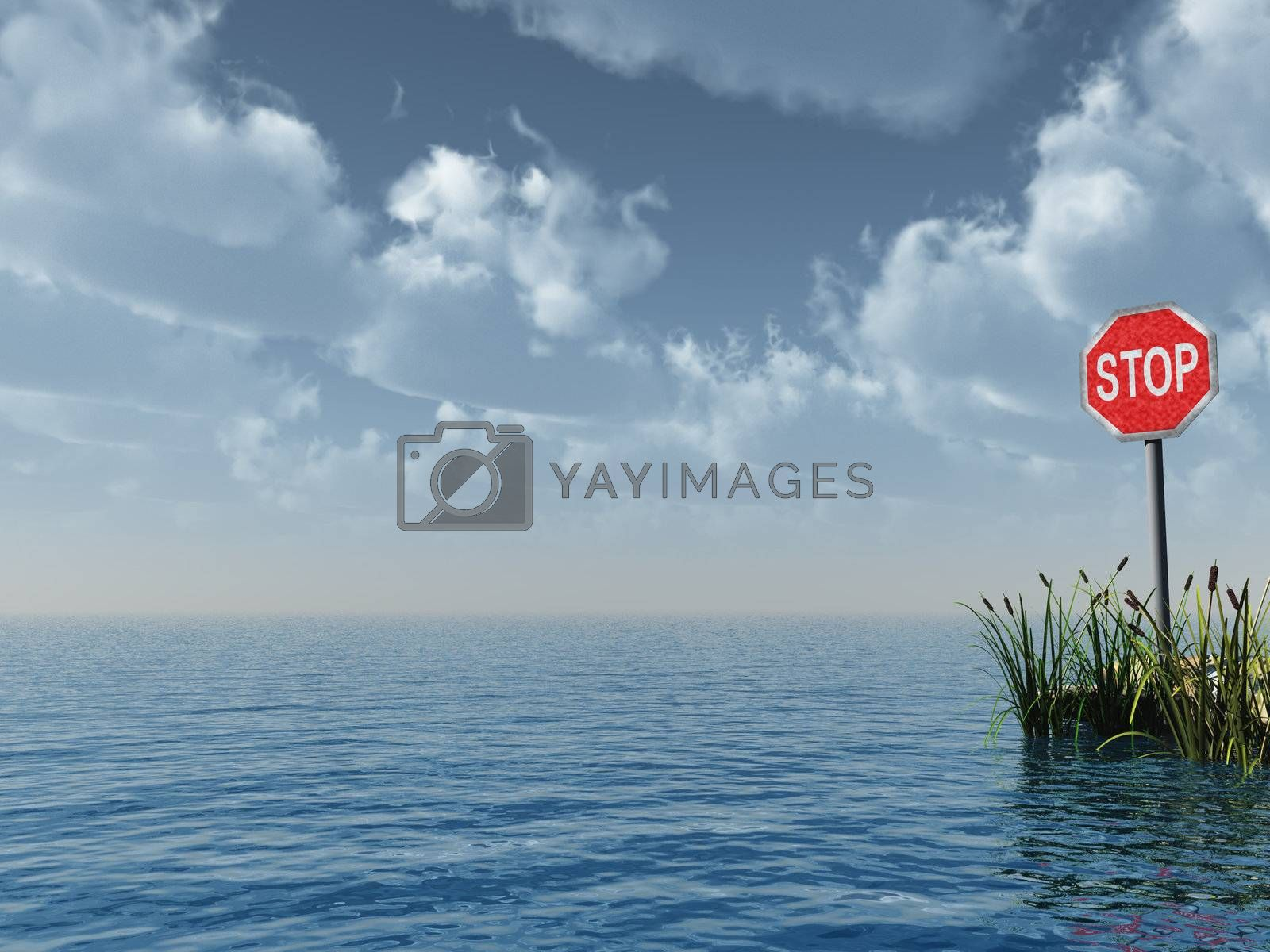 water landscape with stop sign - 3d illustration