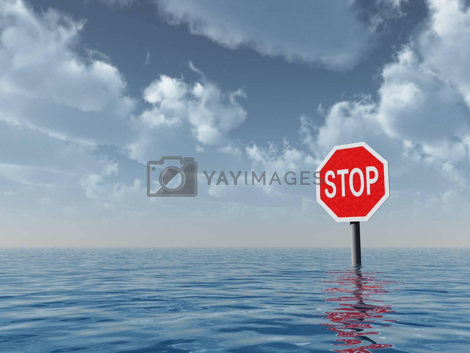 stop sign at water landscape - 3d illustration