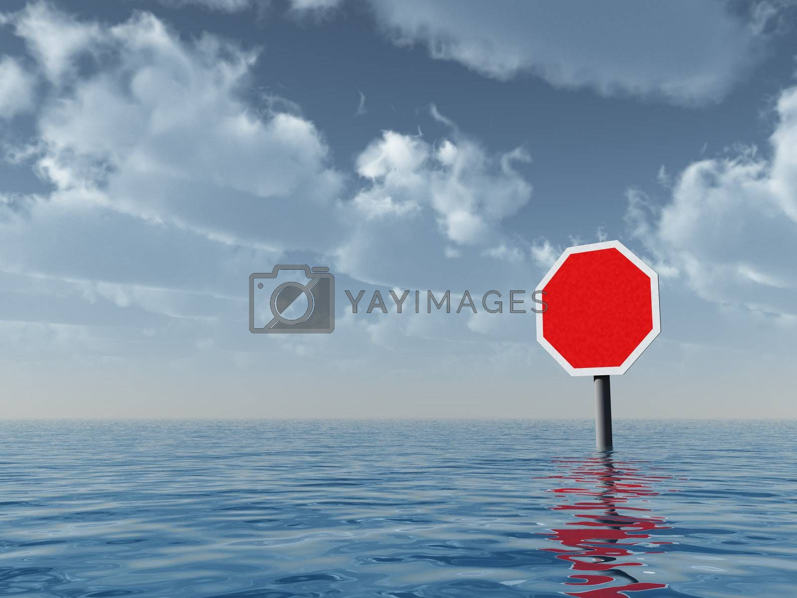 blank stop sign at water landscape - 3d illustration