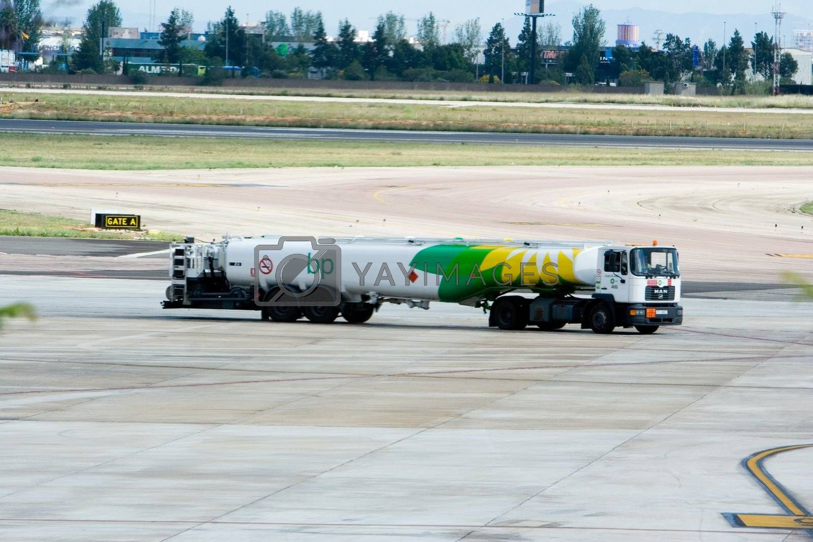 BP fuel truck waiting to refuel an airplane