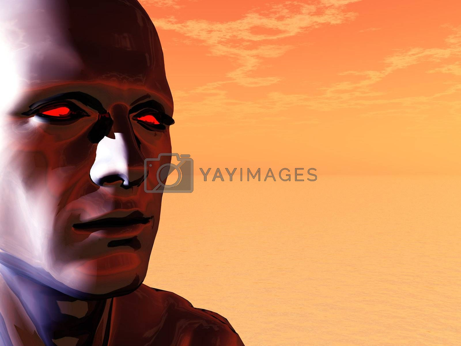 surreal head of a man with red eyes - 3d illustration