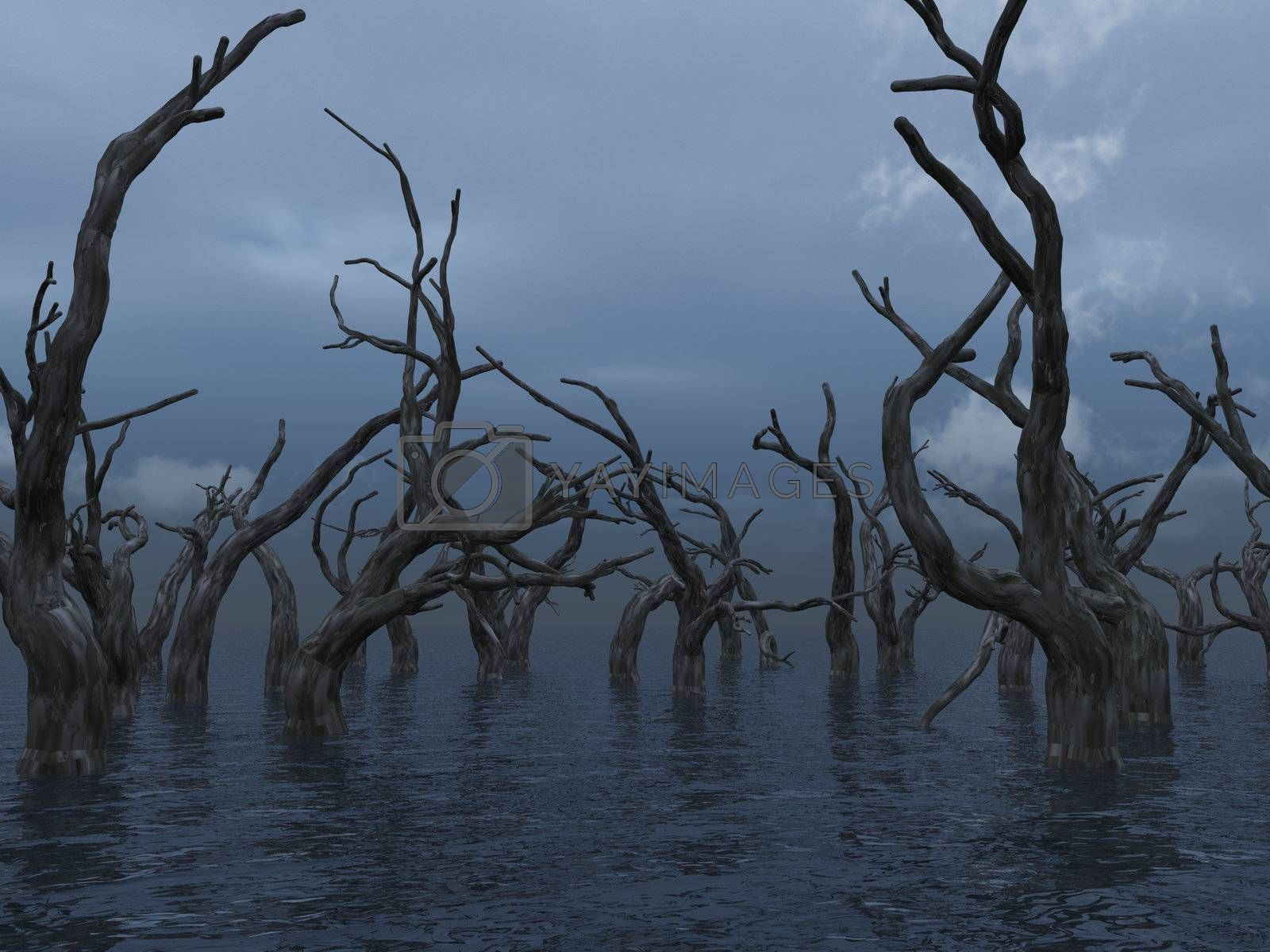 dead trees at a dark water landscape - 3d illustration