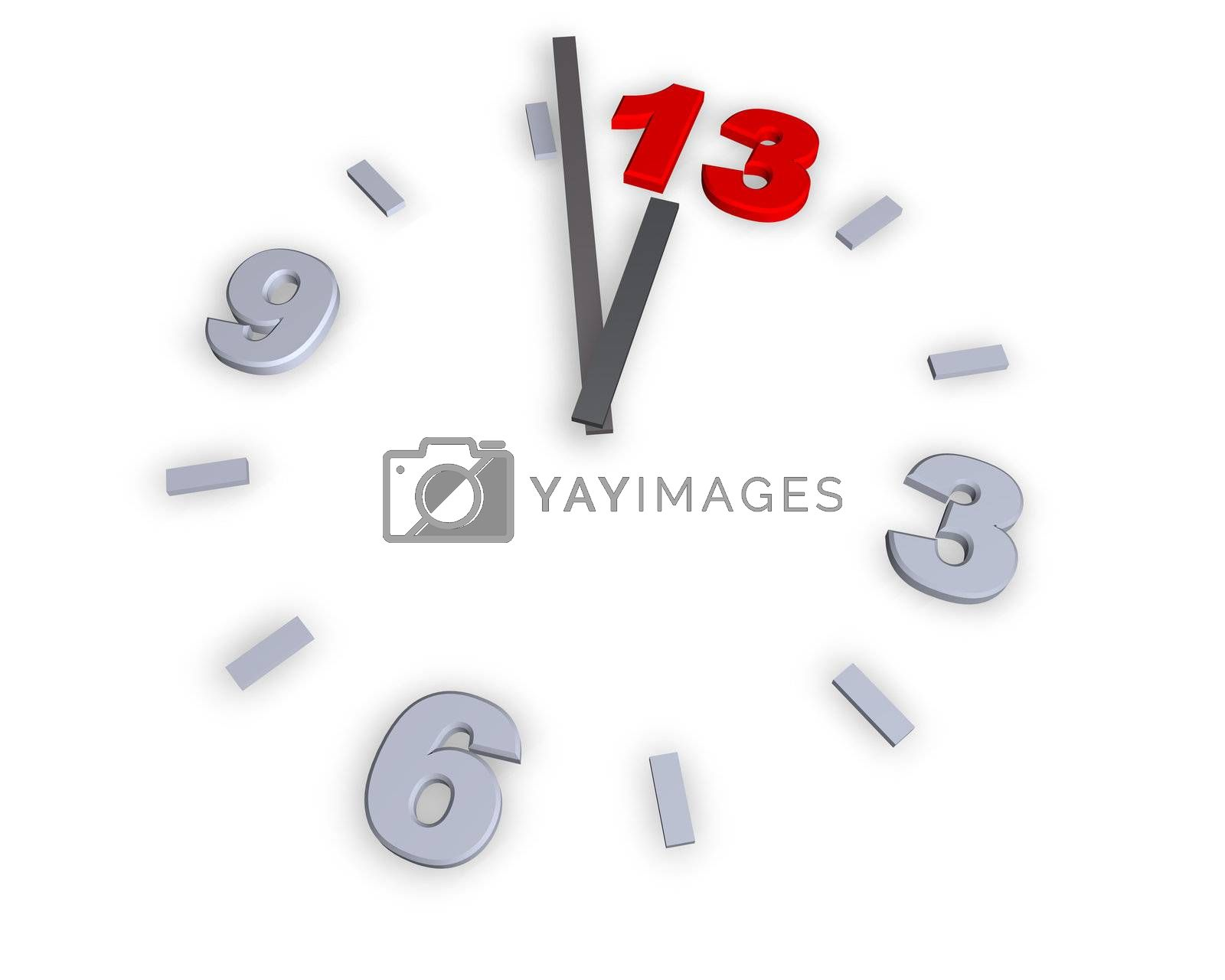 clock with number 13 - 3d illustration