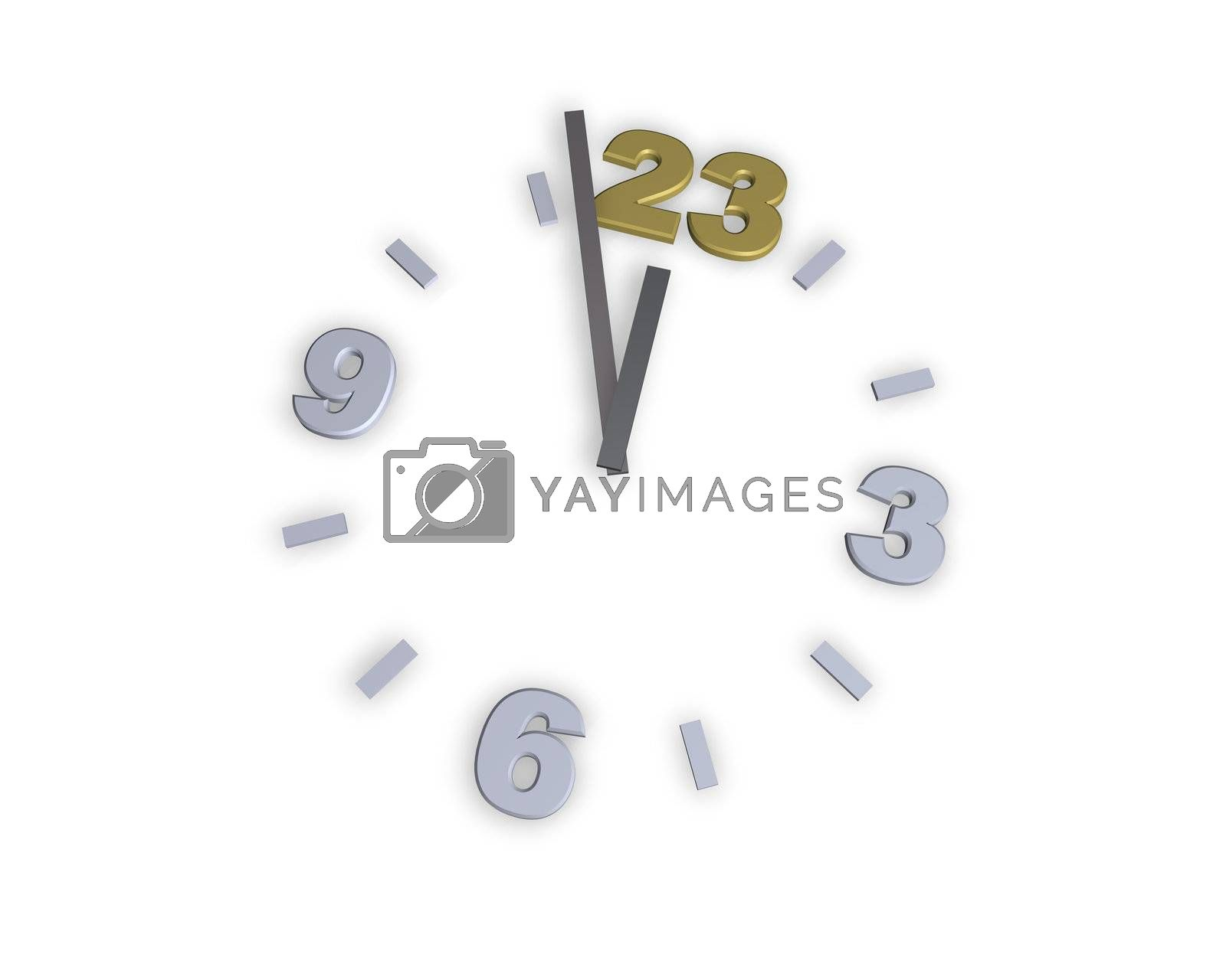 clock with number 23 - 3d illustration