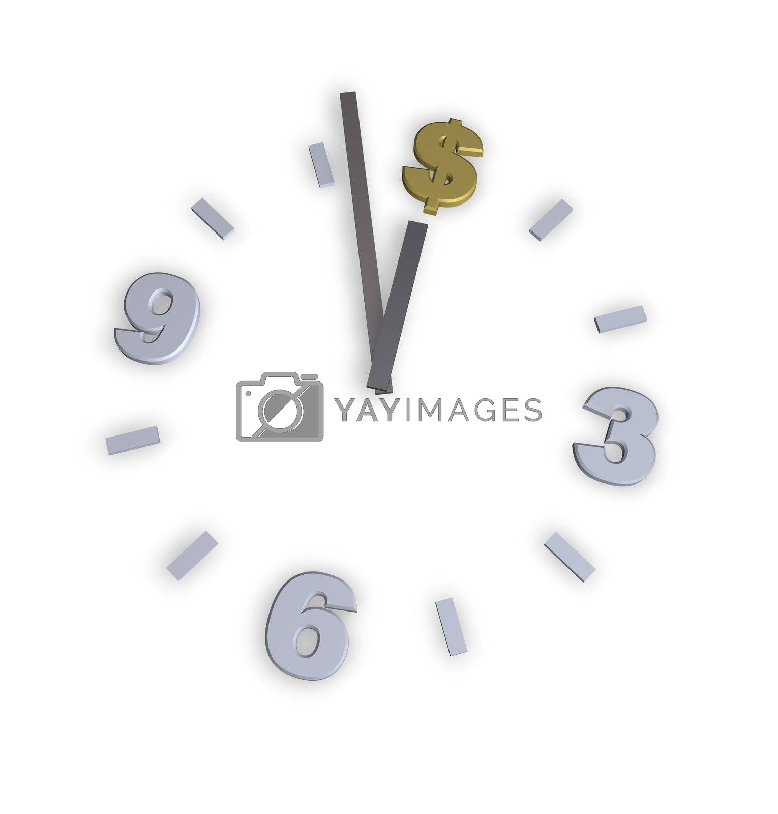 dollar clock on white background - 3d illustration