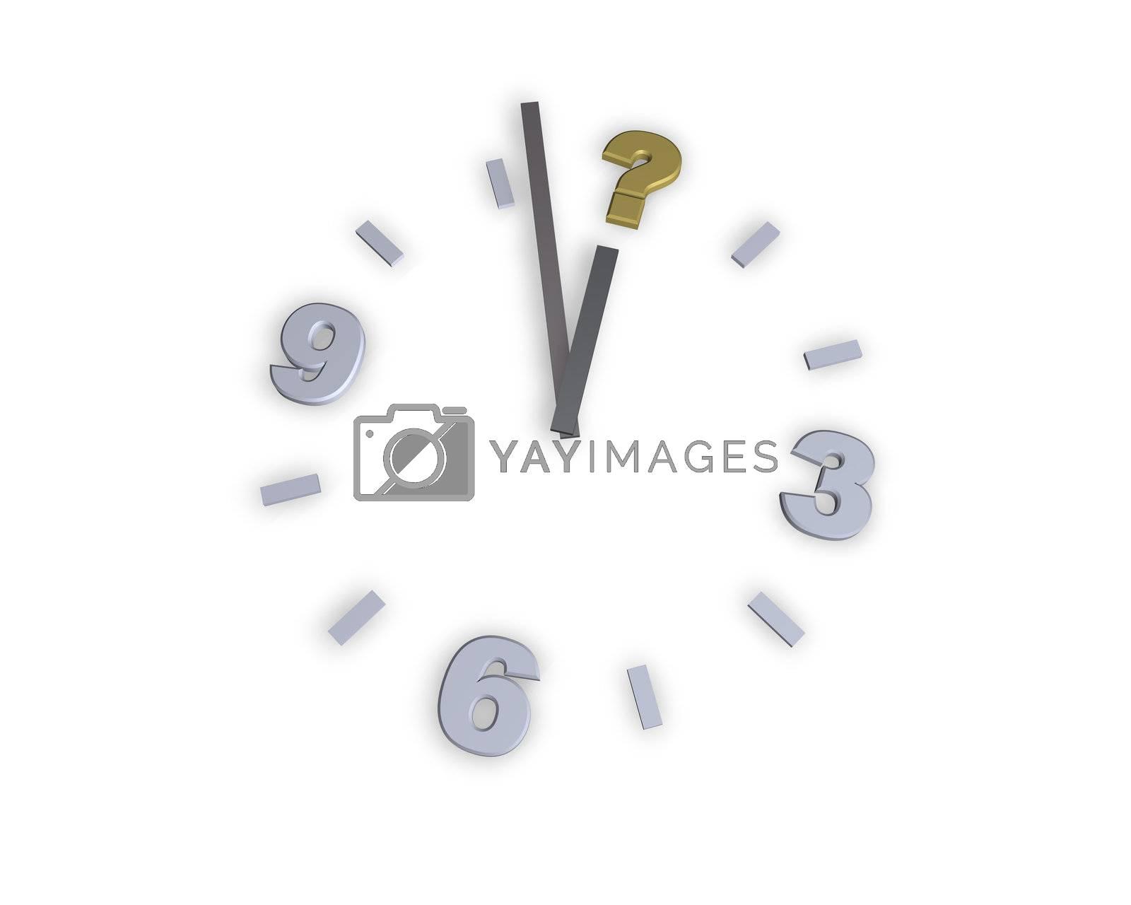 clock with question mark symbol - 3d illustration