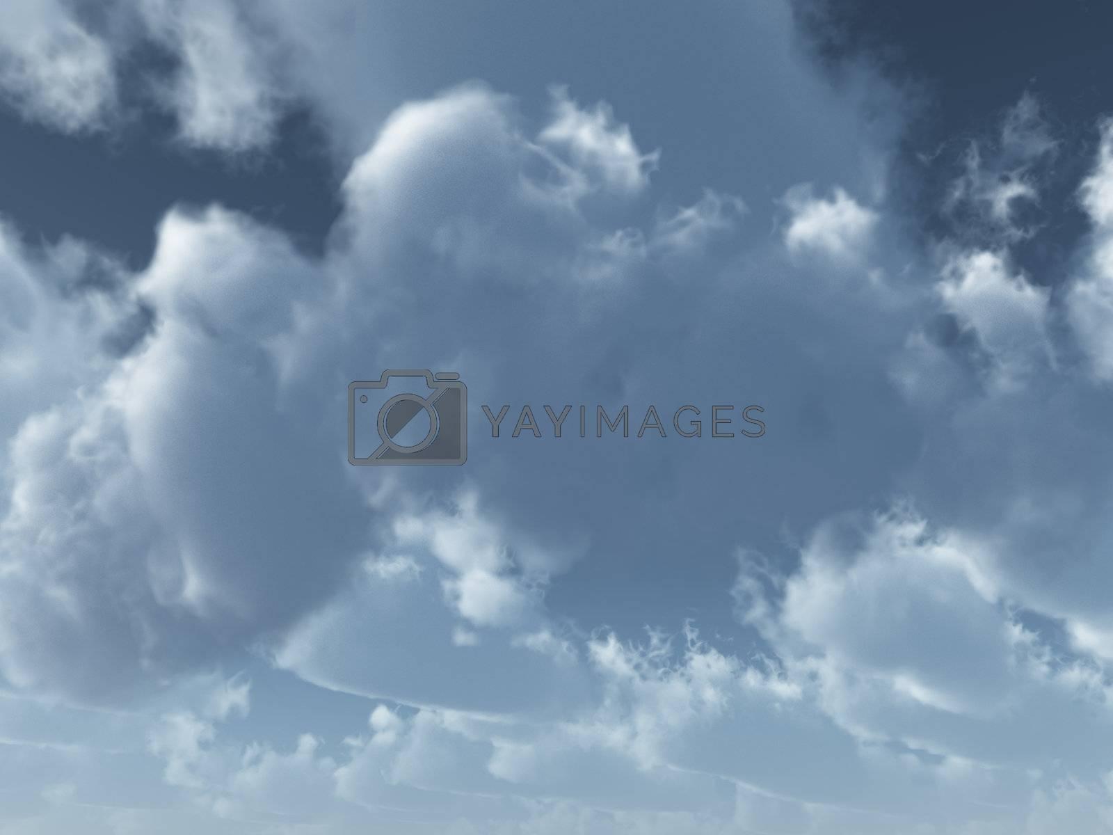 clouds on the blu sky - 3d illustration