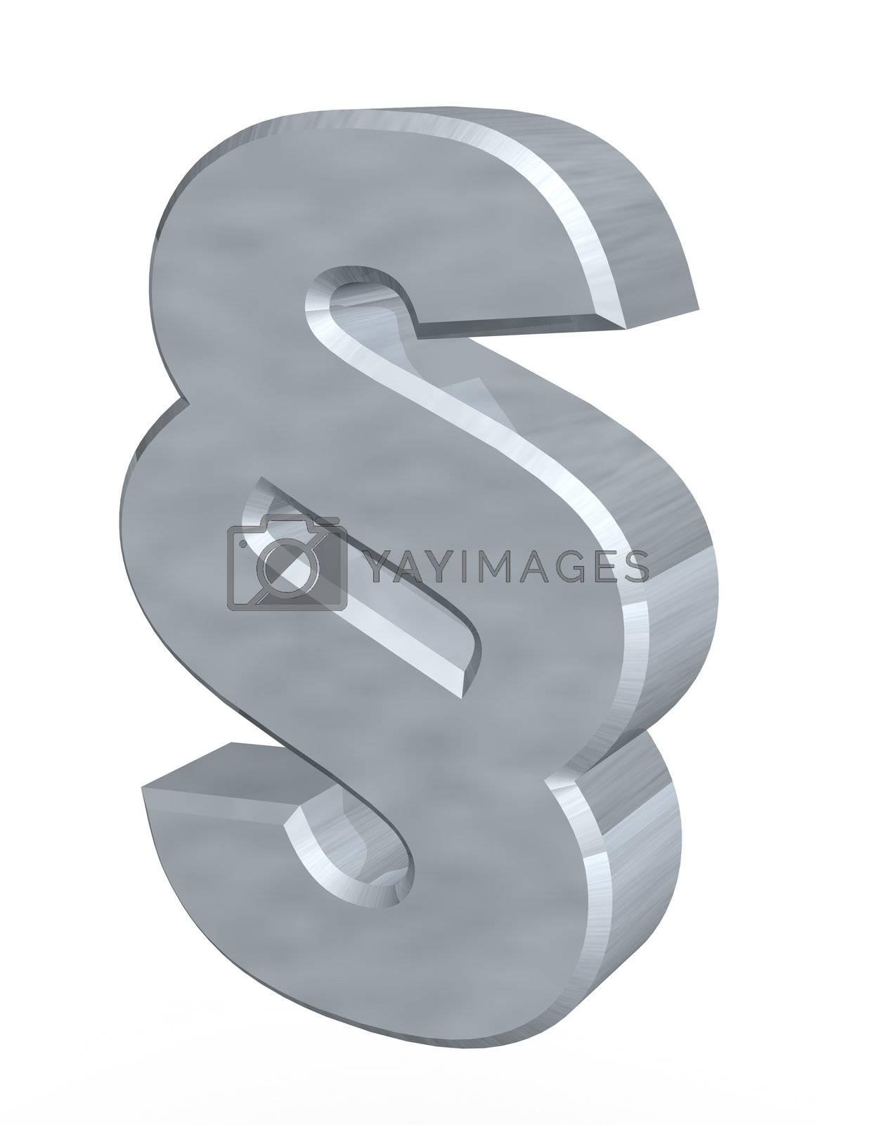 metal paragraph symbol - 3d illustration